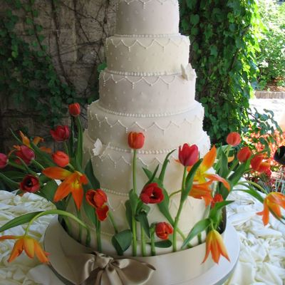 Wedding Cake With Fresh Tulips on Cake Central
