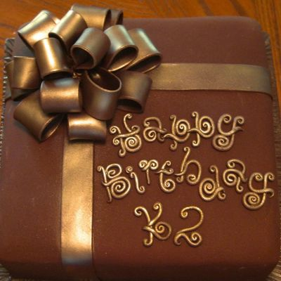 Scrolled Letters And Bow ~ Man's Bd Cake on Cake Central