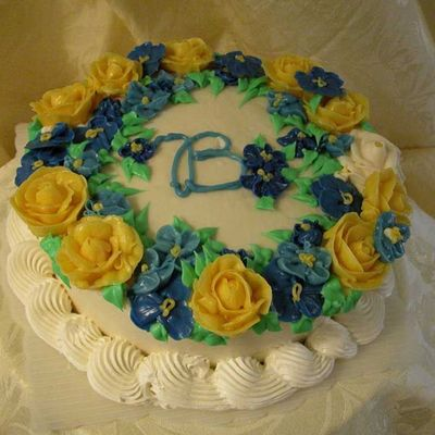 Blue And Yellow Floral Cake