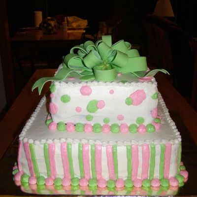 Pink And Green Shower on Cake Central
