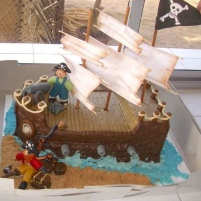 Pirate Ship With Marzipan Figures