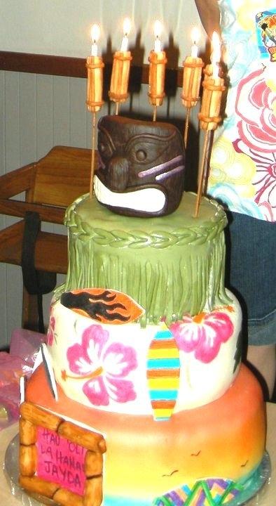 Hawaiian Style Tiki Torch Birthday Cake Cakecentral Com