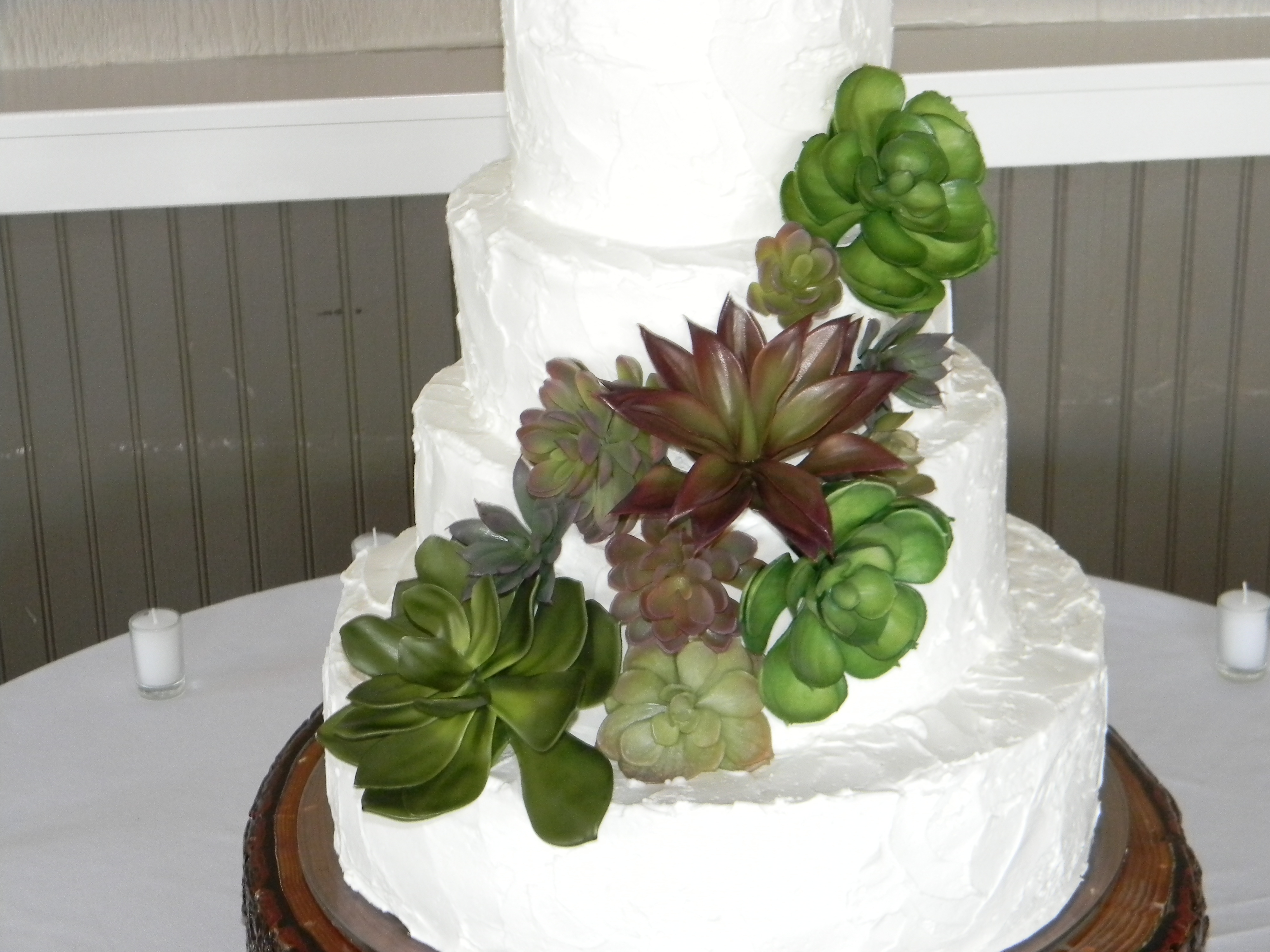 Rustic Wedding Cake With Succulents CakeCentral