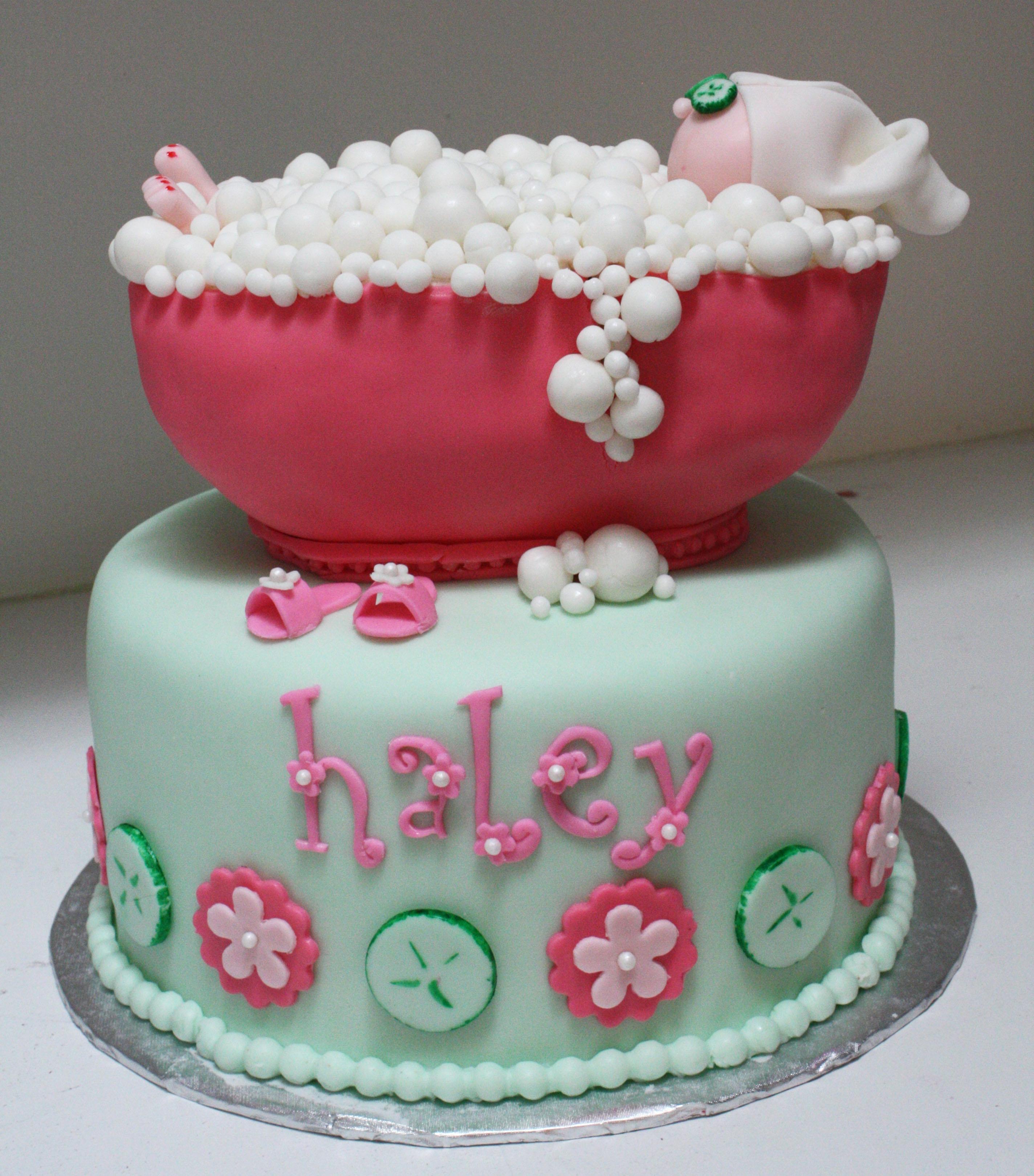 spa party bubble bath cake cakecentralcom