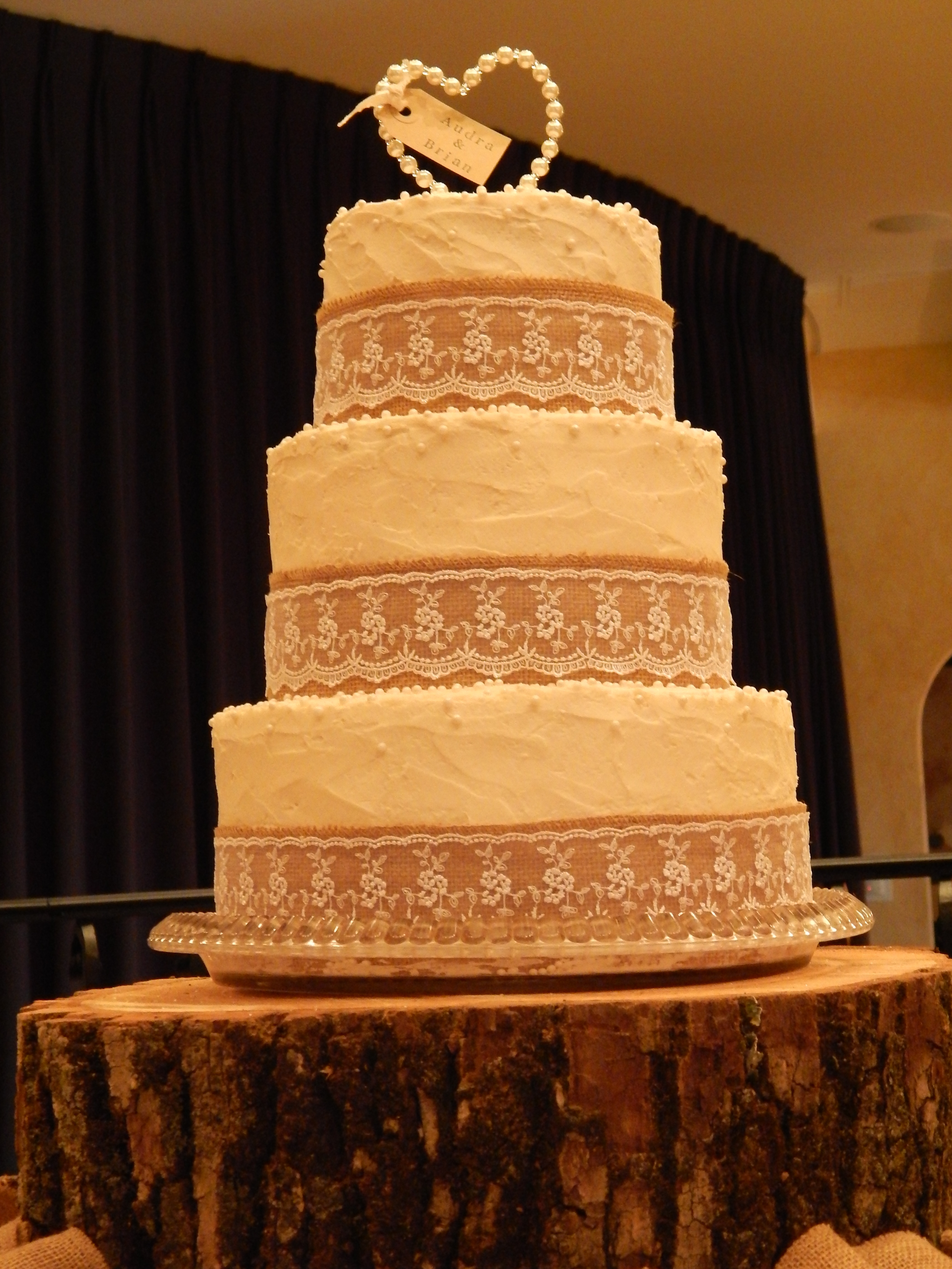 Burlap And Lace 3 Tier Wedding Cake CakeCentral