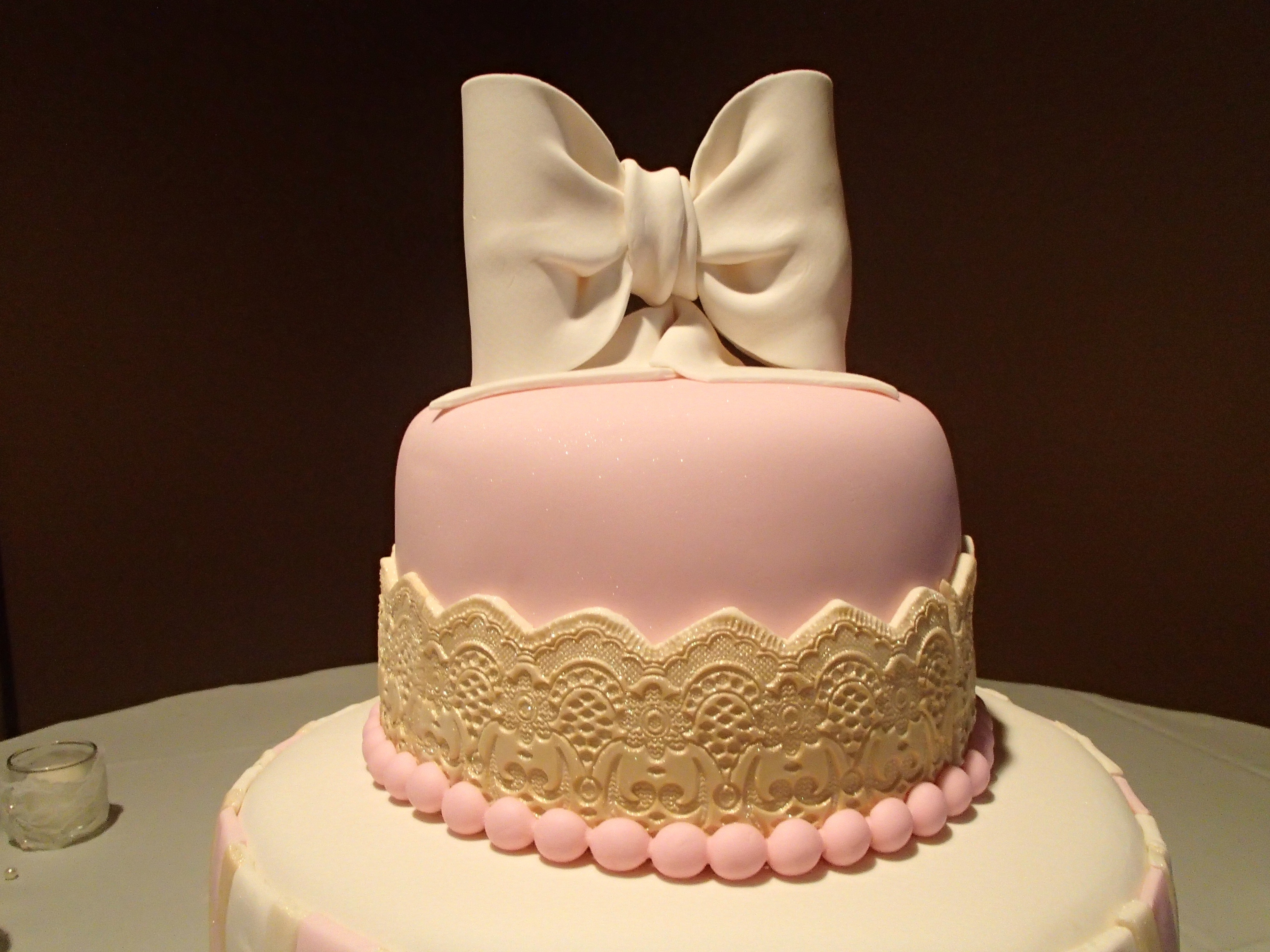 Pink And Gold Wedding Cake - CakeCentral.com