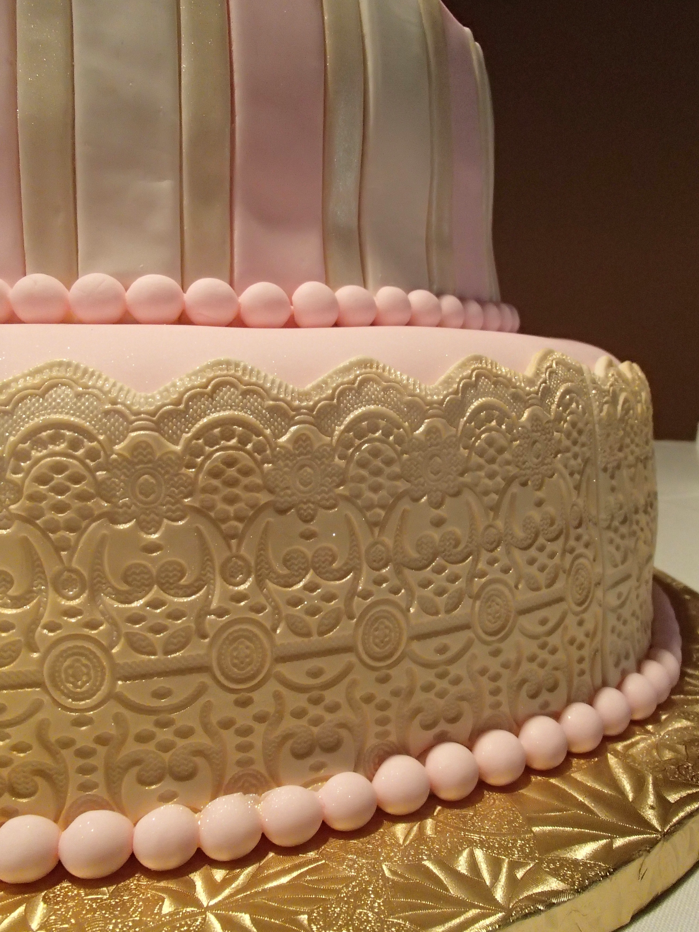 Pink And Gold Wedding Cake CakeCentral