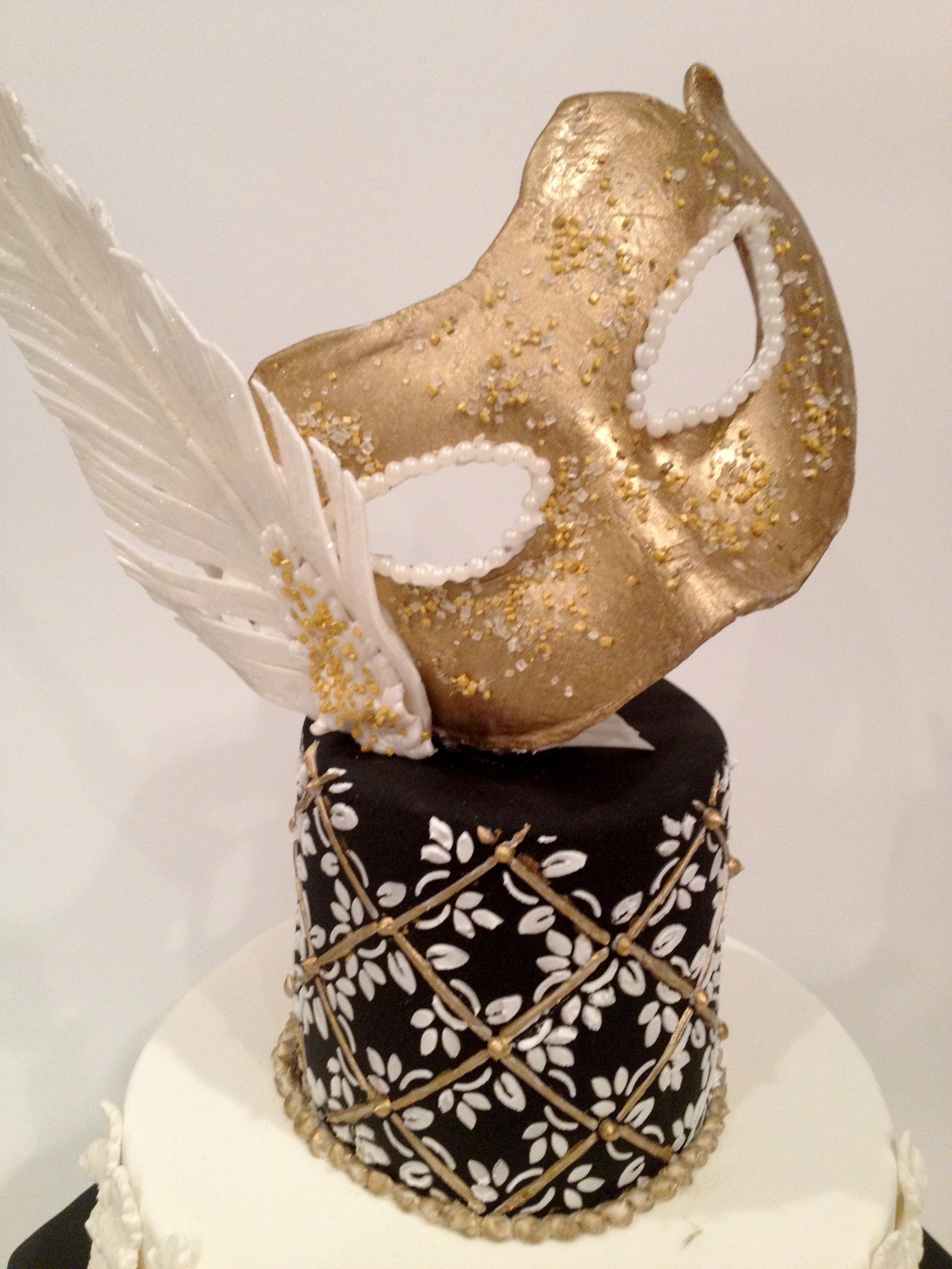 Black And Gold Masquerade Birthday Cake Cakecentral Com