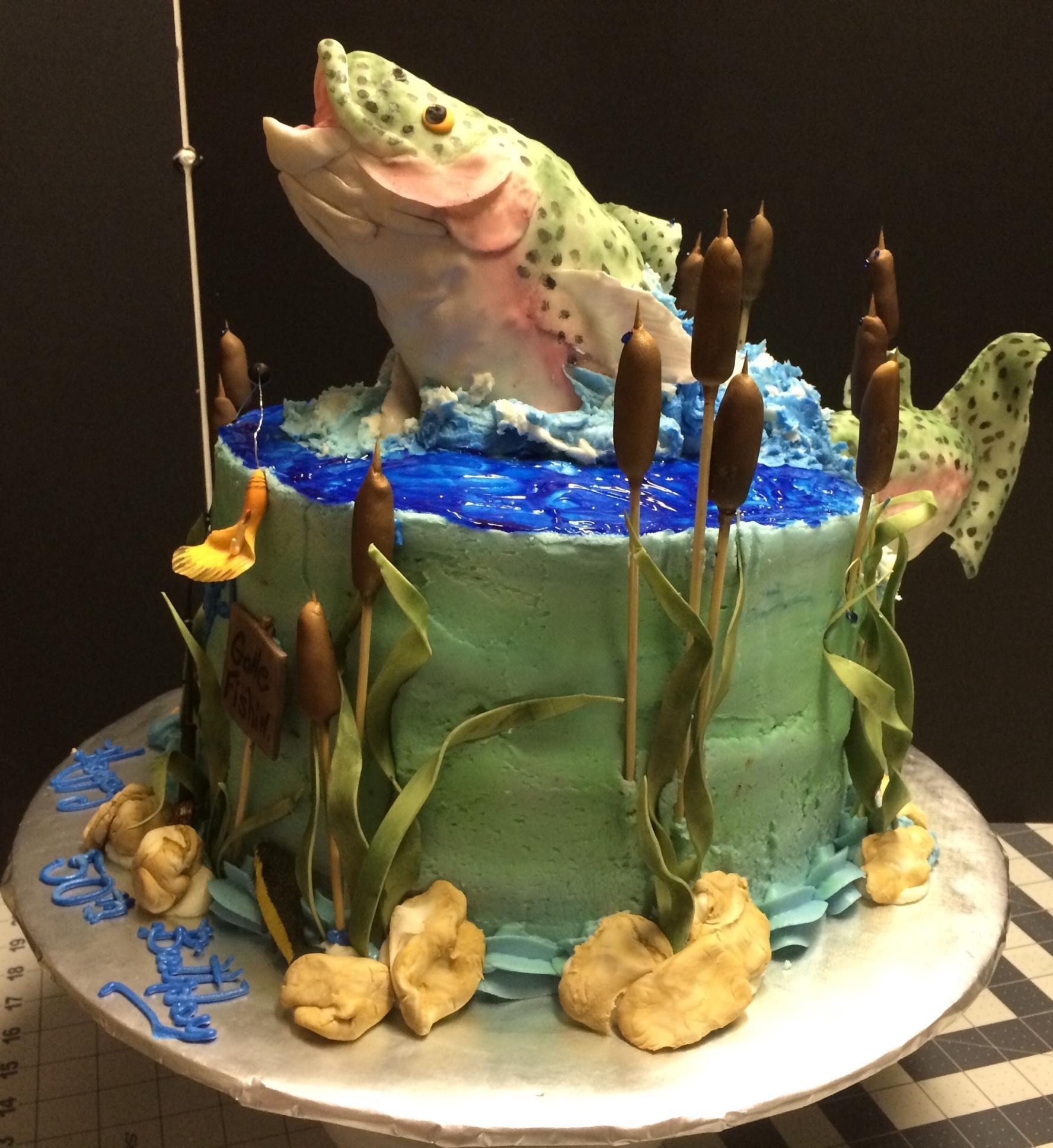 Не оттягивайте воплощение мечты - преподнесите ему на день рождения торт рыбаку.