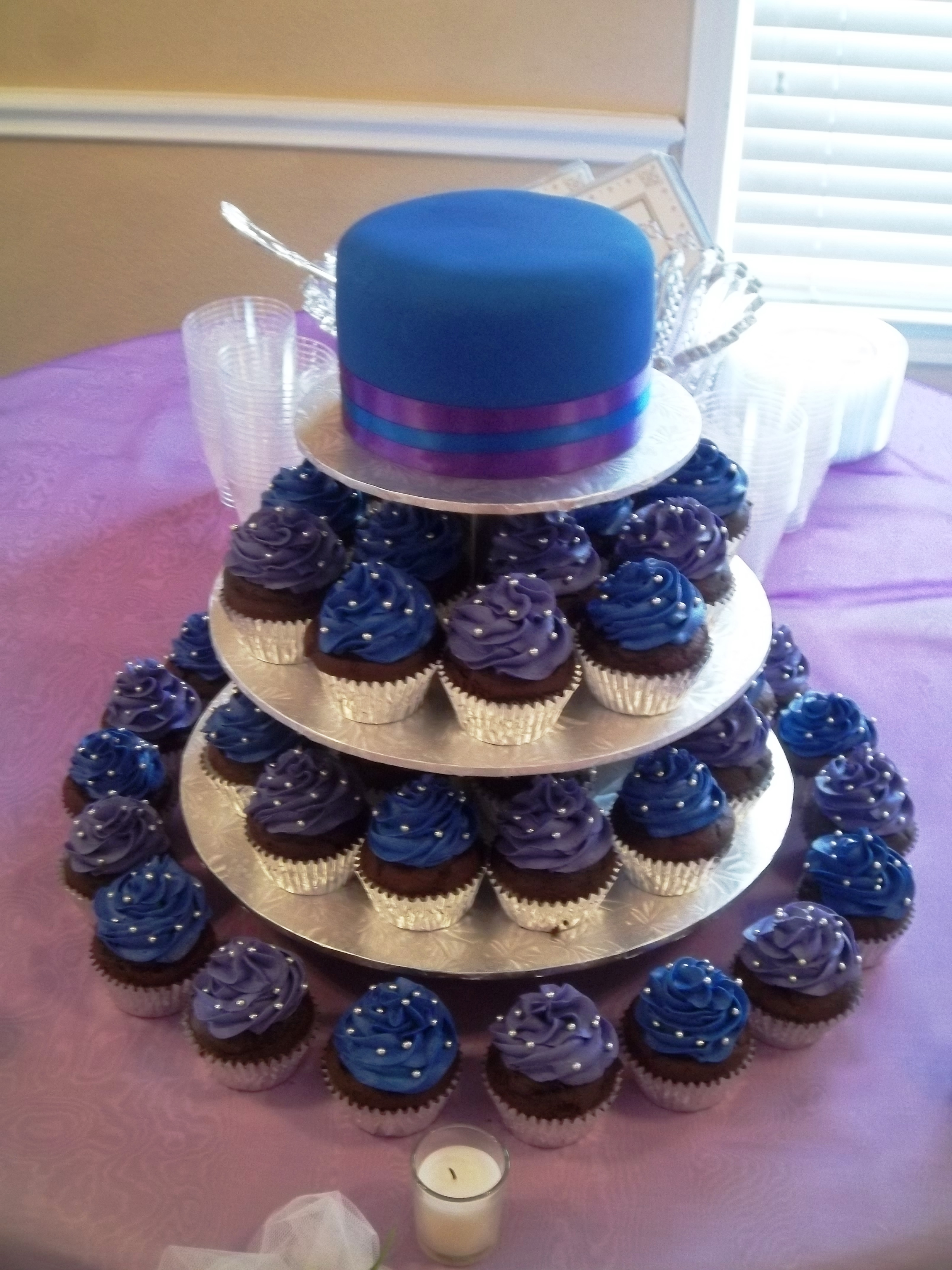 Royal Purple And Royal Blue Wedding Cake - CakeCentral.com