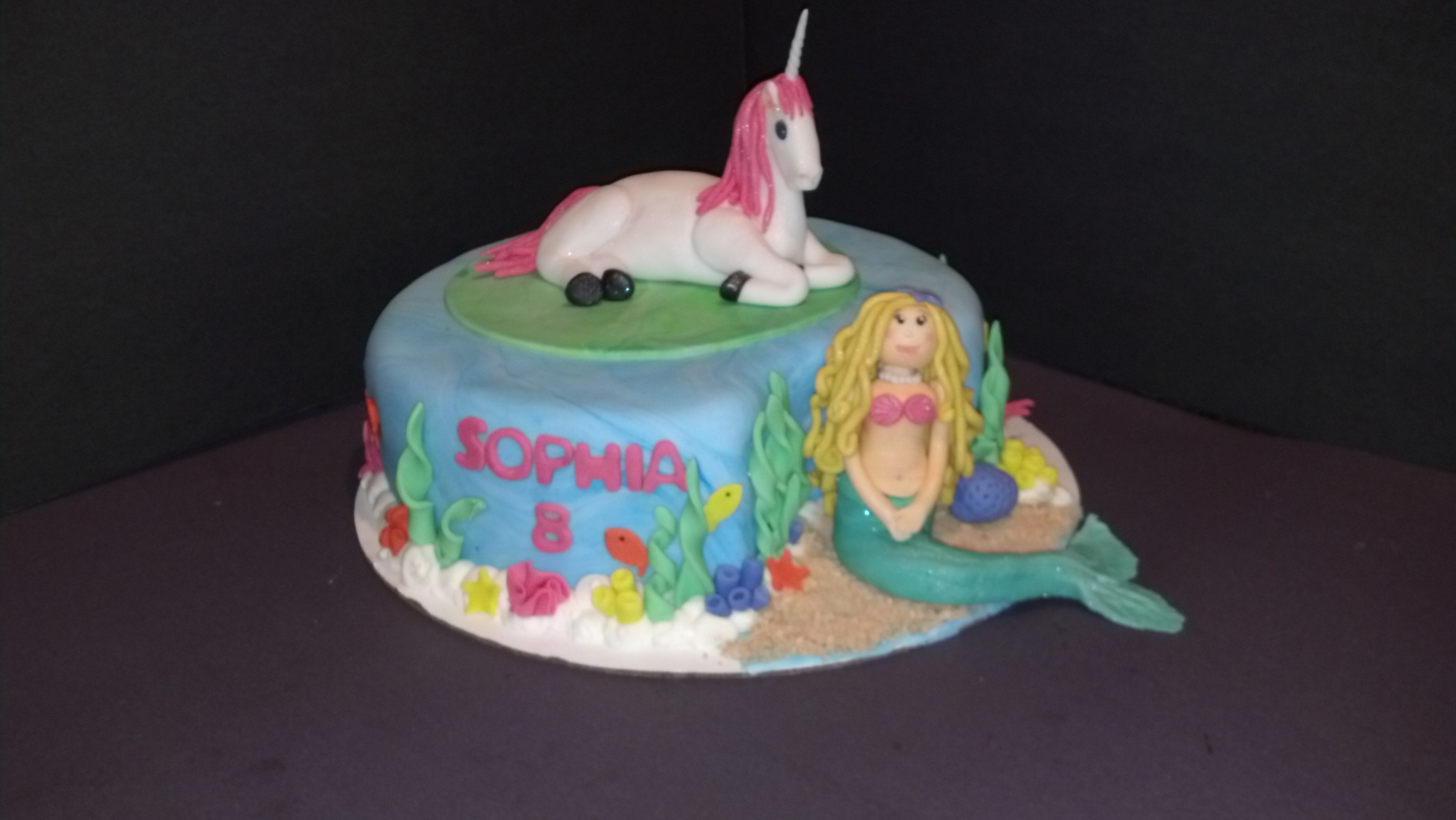 Unicorn Mermaid Cake Two Cakes In One Cakecentral Com
