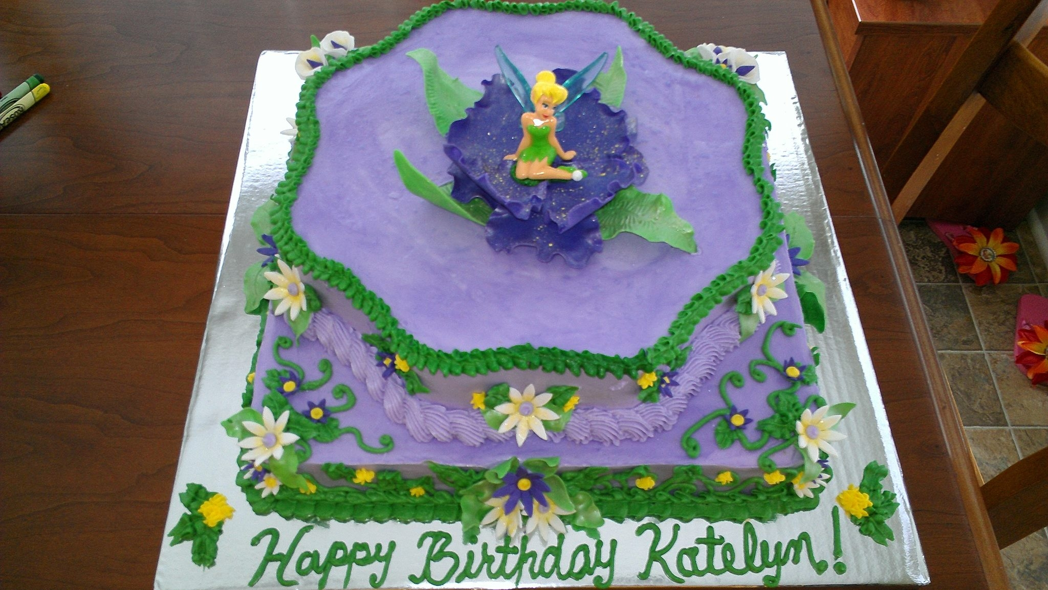 Two Tier Tinkerbell Cake 12 Square Base With Wilton Flower ...