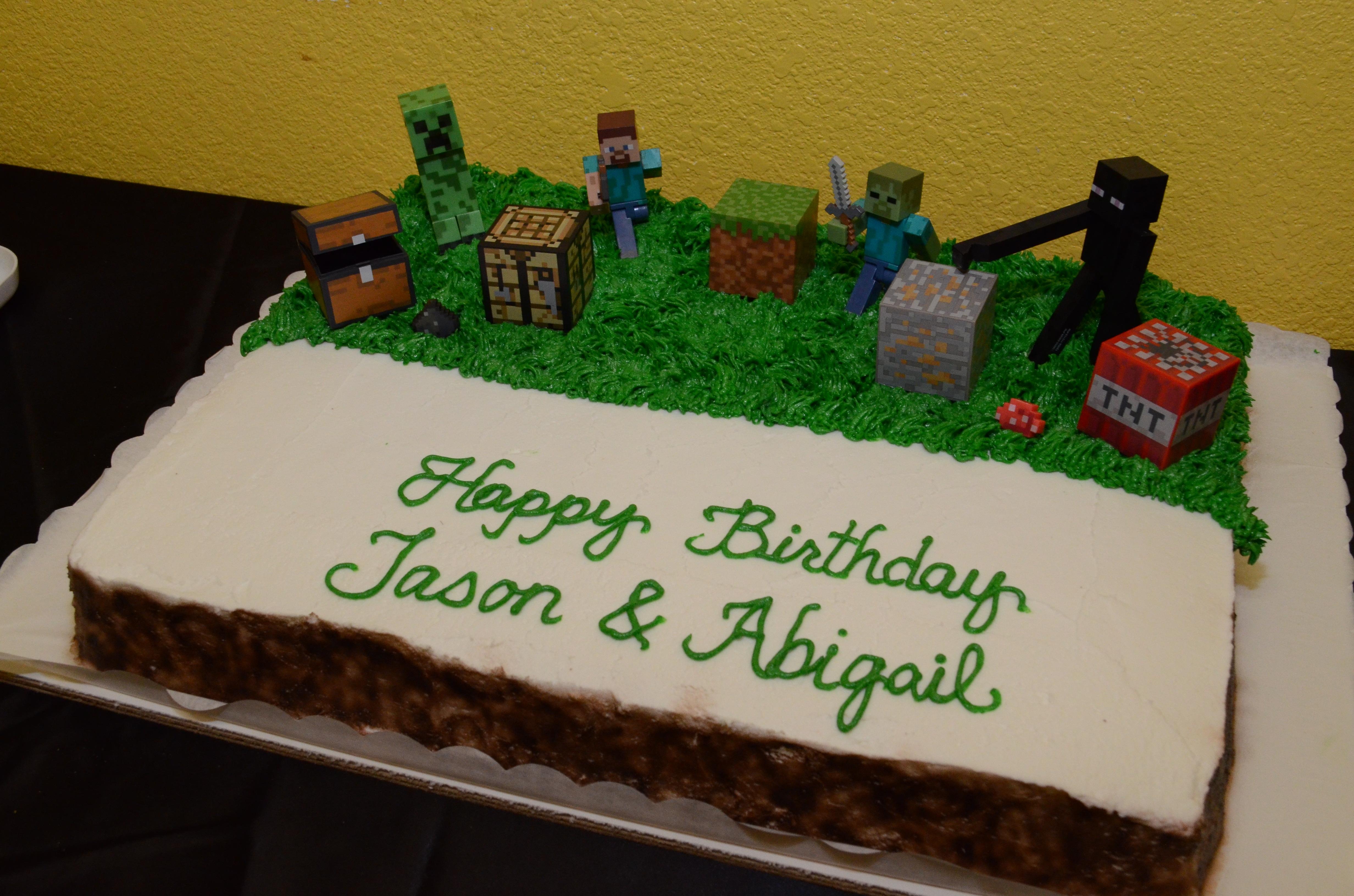 Happy Birthday Jason And Abigail Minecraft Cake