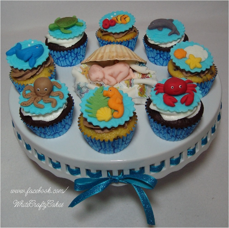 I Made This Cake And Cupcake Tower For A Under The Sea