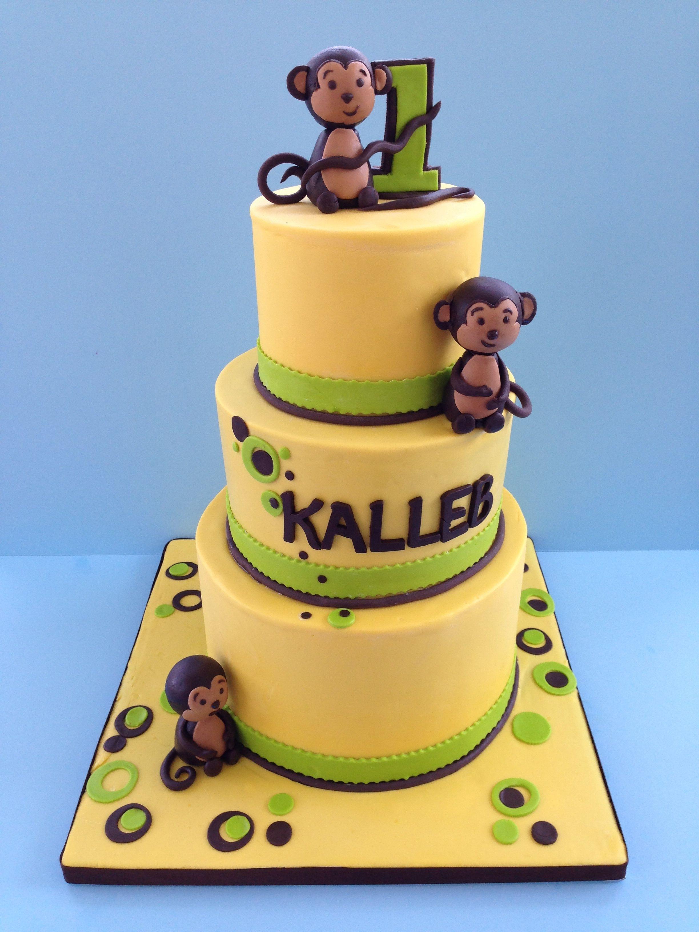 Monkey theme first birthday for Monkey birthday cake template
