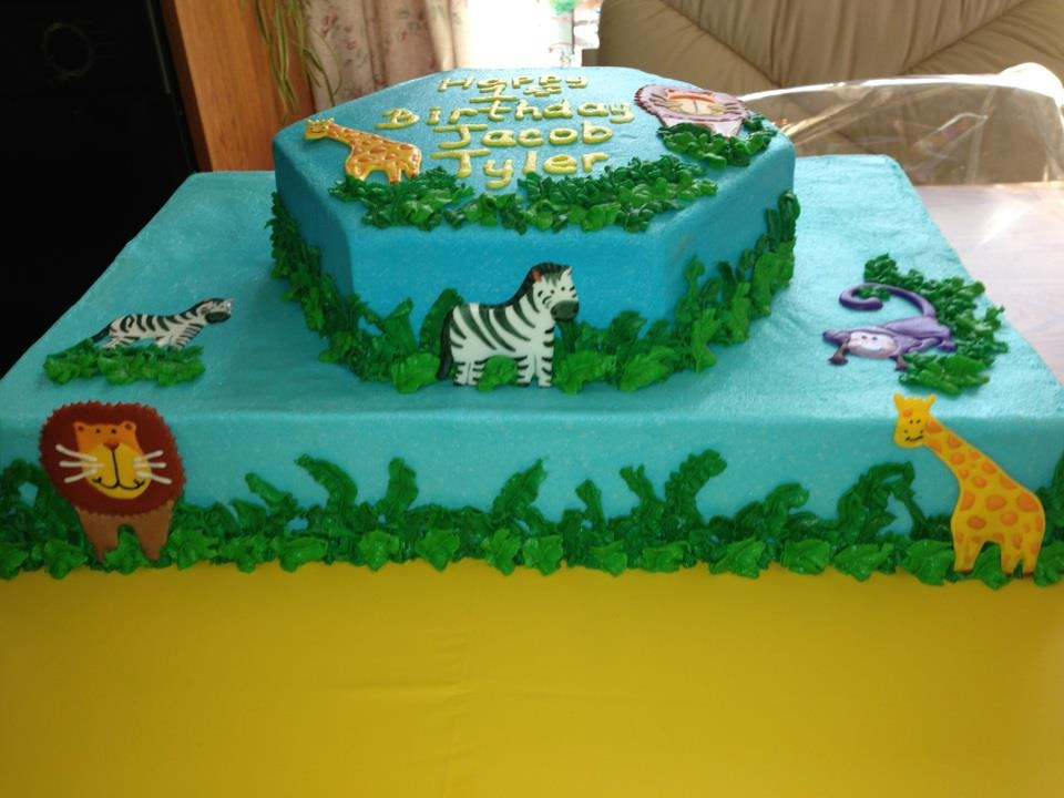 Baby Animal Zoo Cake For Boys First Birthday Cakecentral Com