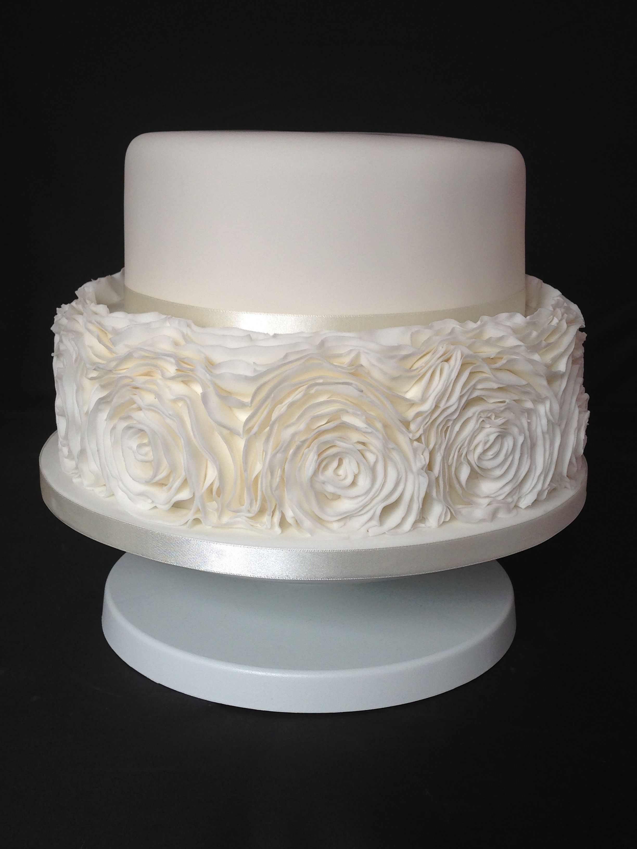 Ruffle Two Tier Wedding Cake To Replicate The Brides Dress