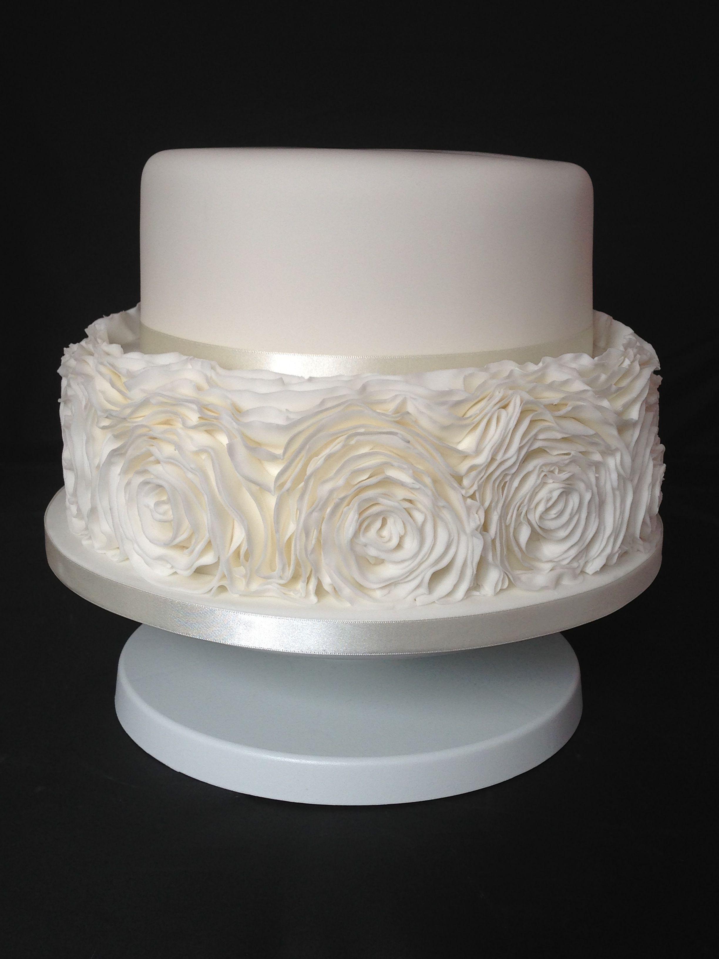 Ruffle Two Tier Wedding Cake To Replicate The Brides Dress