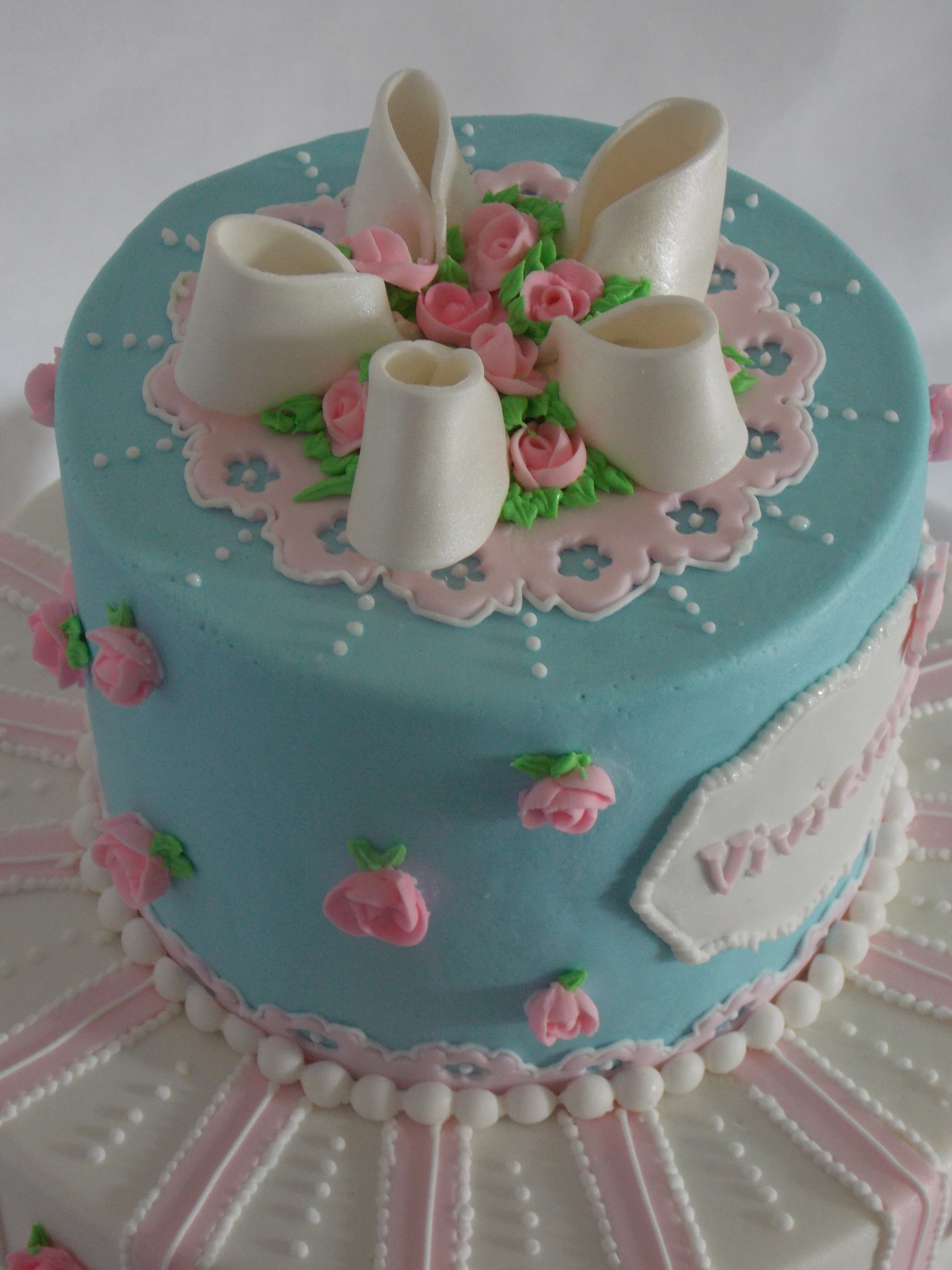 Shabby Chic Birthday Cake Royal Icing Roses This Was My