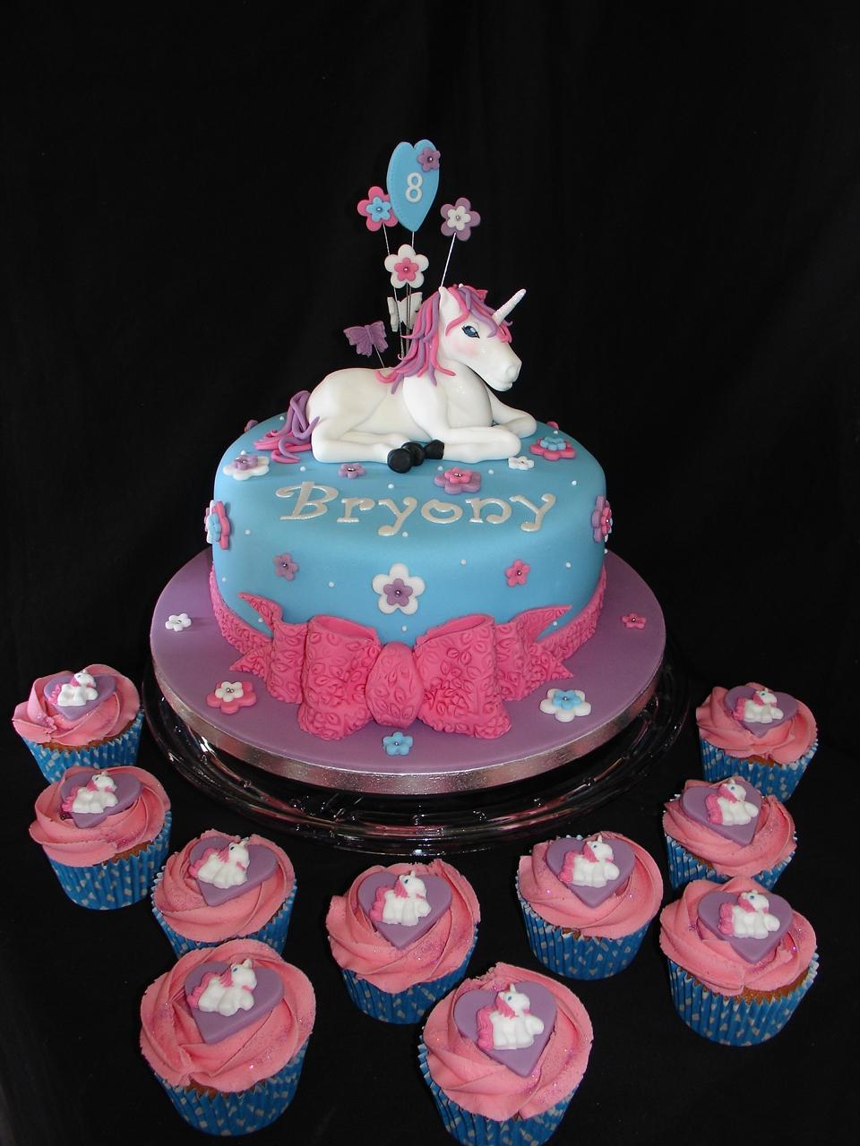 Unicorn Fondant Cake With Cupcakes Cakecentral Com