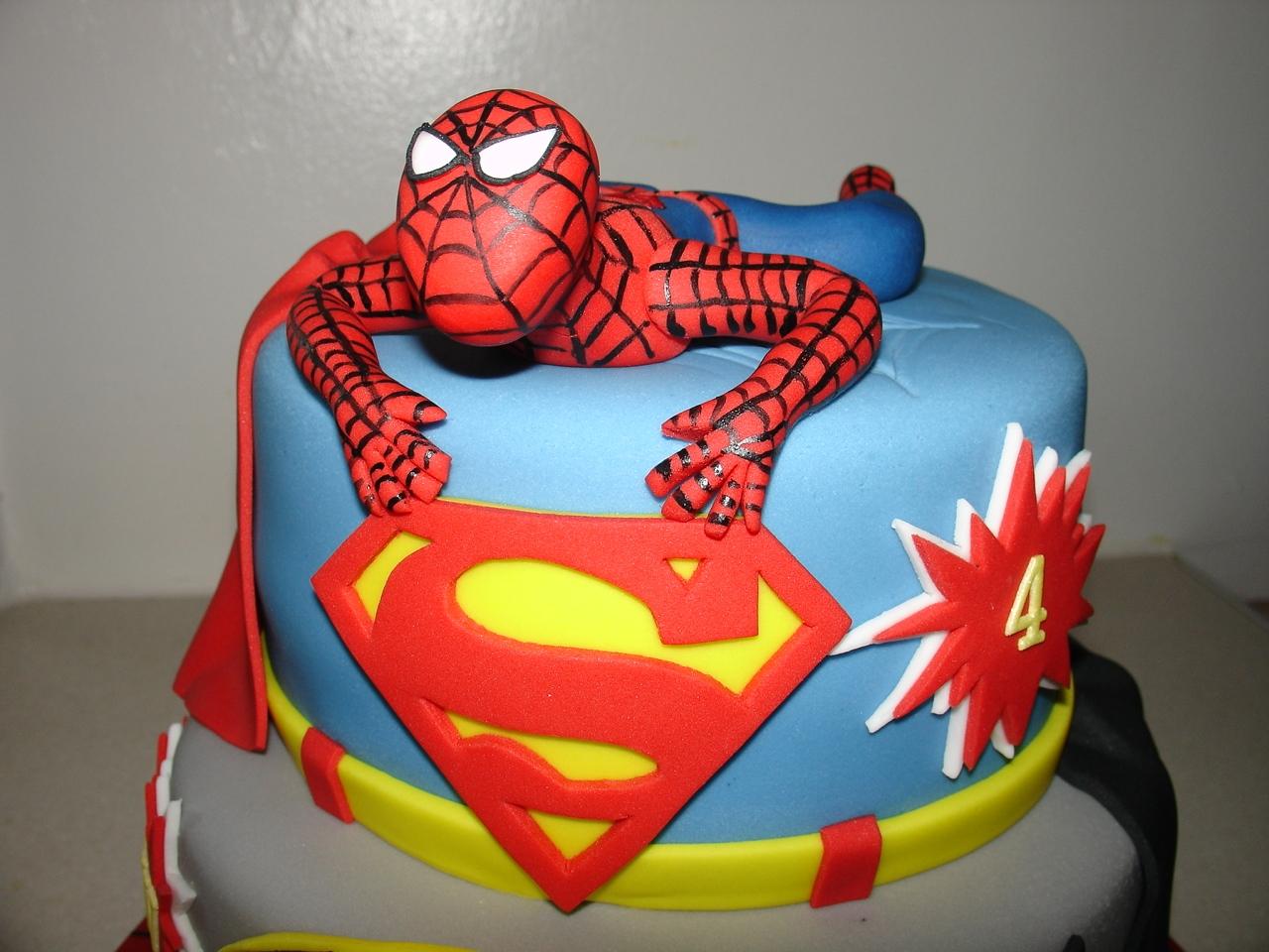 Superhero Spiderman Superman And Batman Fondant Cake