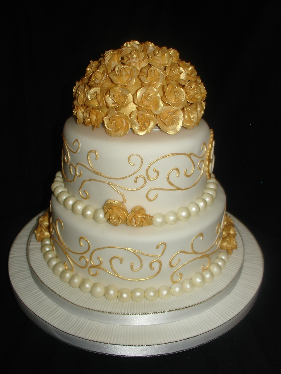 golden 50th wedding anniversary fondant cake. Black Bedroom Furniture Sets. Home Design Ideas