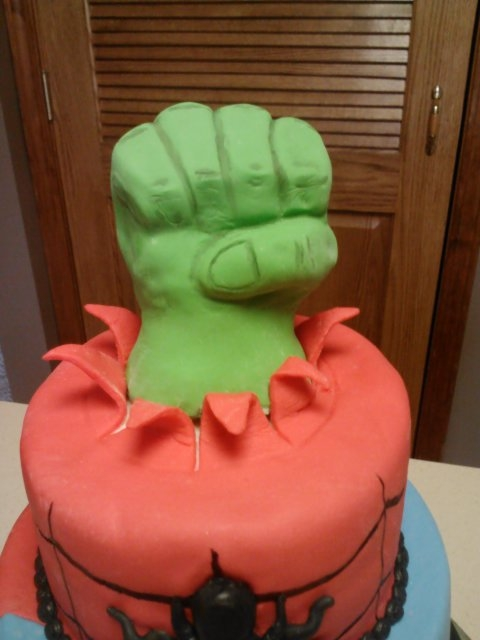 Spiderman Batman Superman And Hulk Fondant Cake