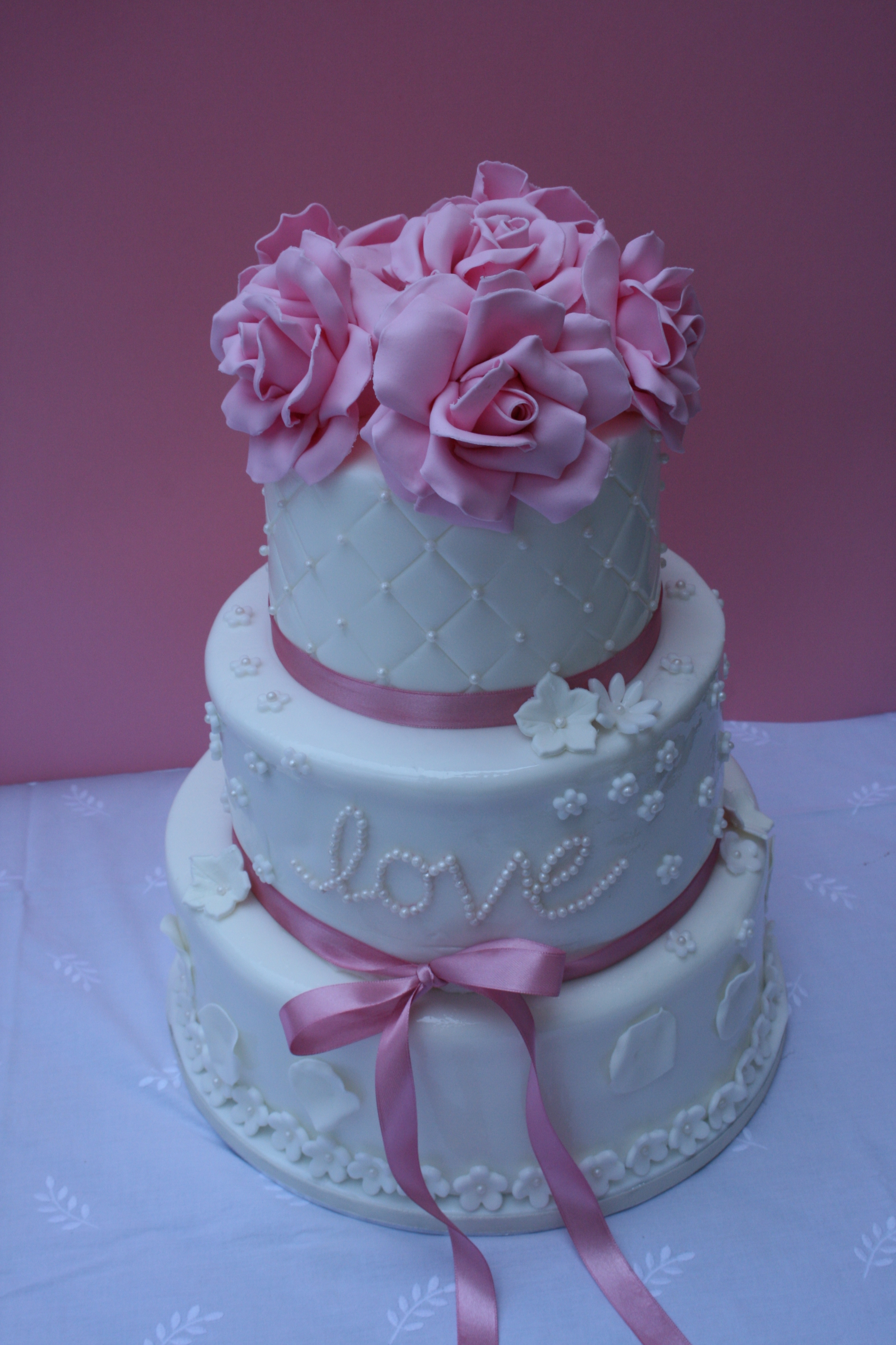 Pink And White Wedding Cake CakeCentral