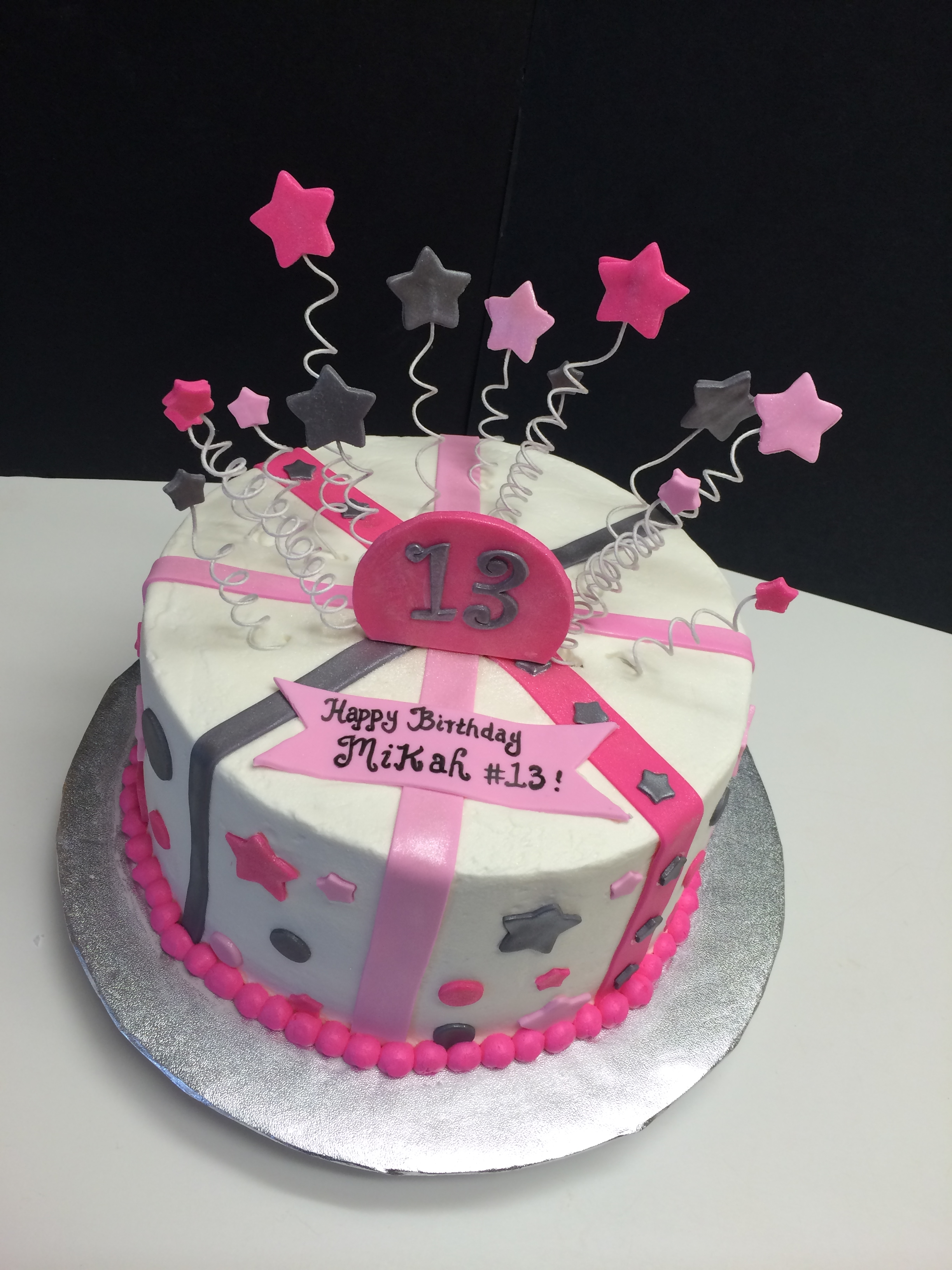 13th Birthday Cake With Stars Stripes And Polka Dots