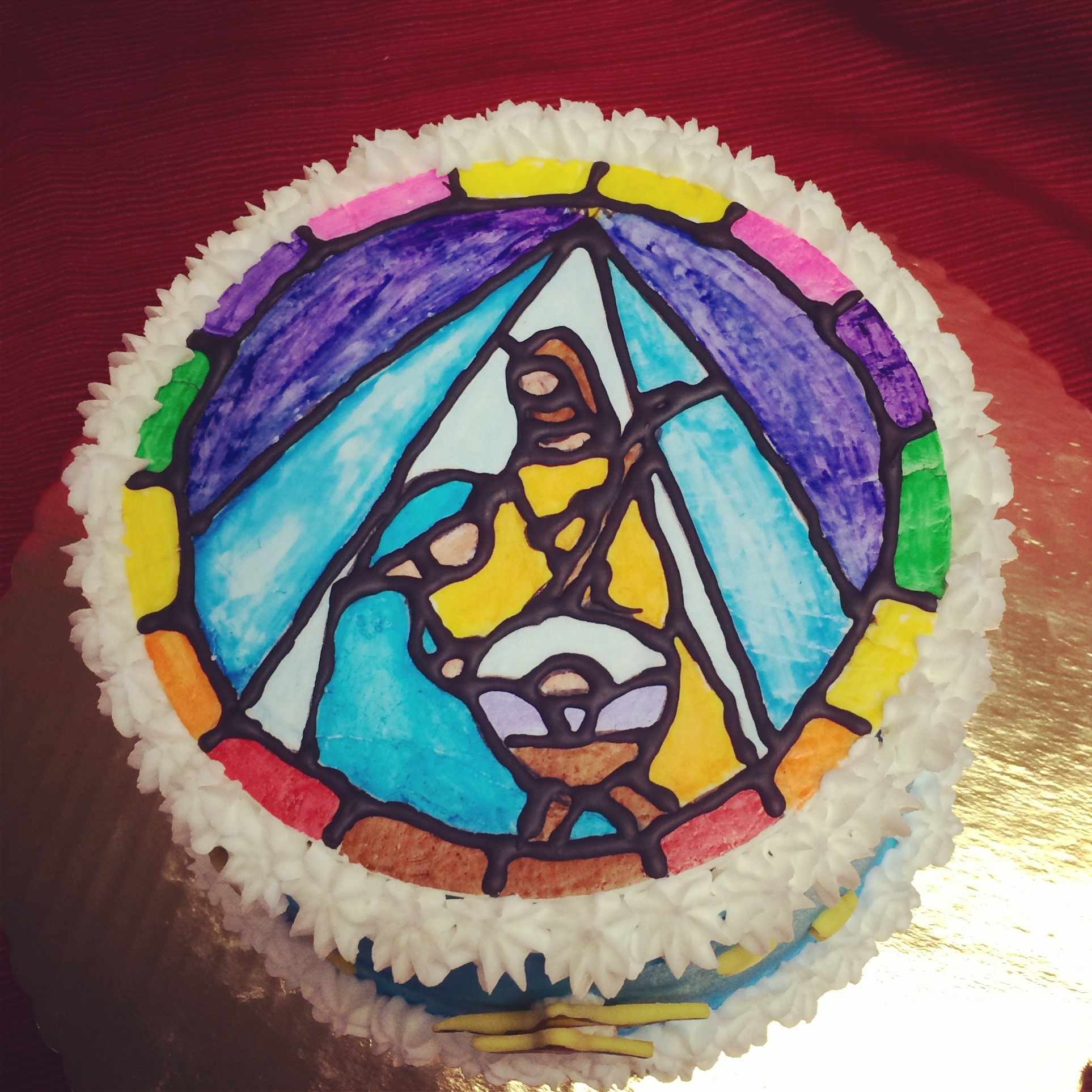 Stained Glass Nativity Christmas Cake - CakeCentral.com