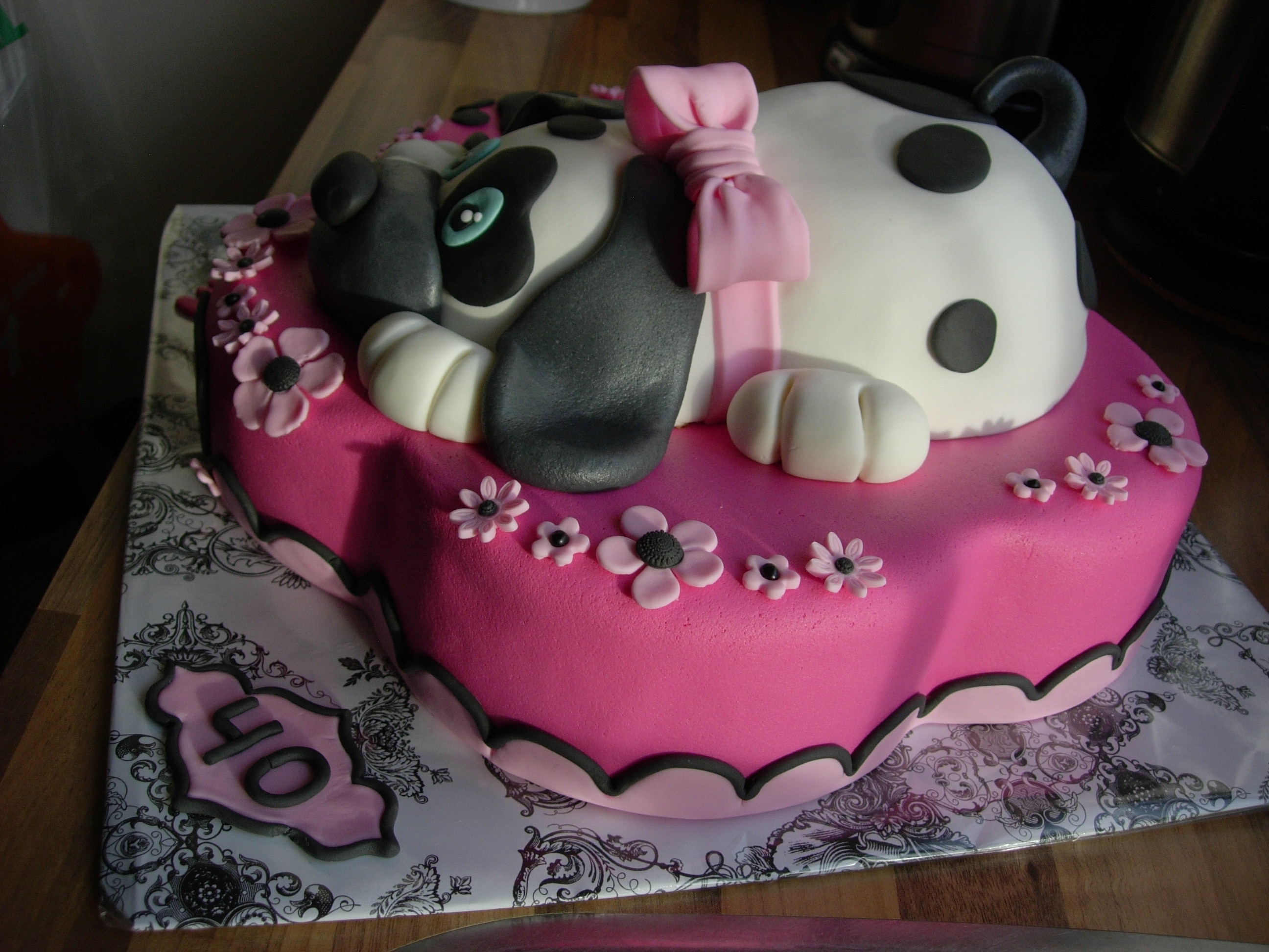Flower Amp Dog Birthday Cake For My Daughter 7 And Husband