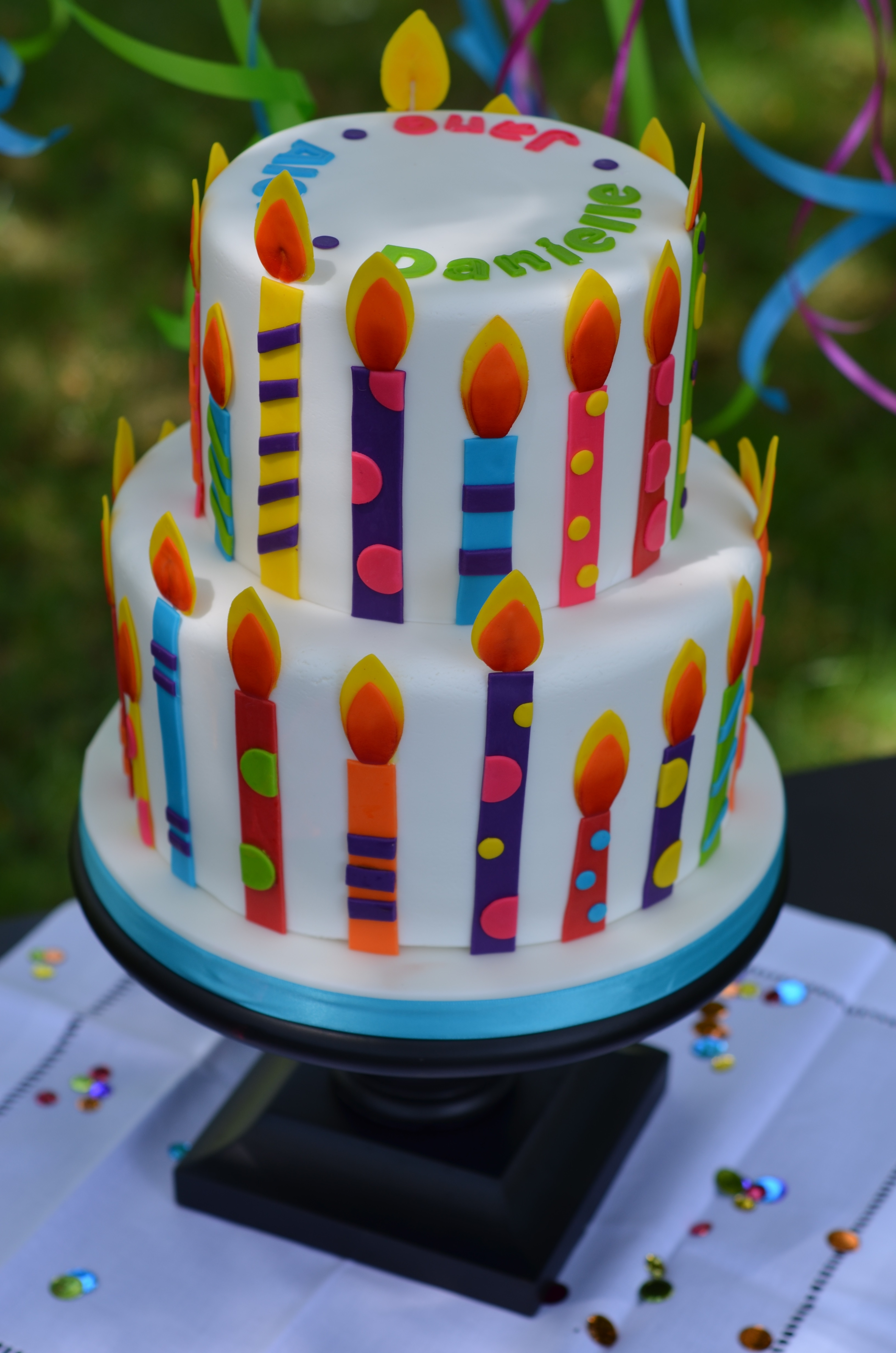 Colorful Fondant Candle Birthday Cake Cakecentral Com
