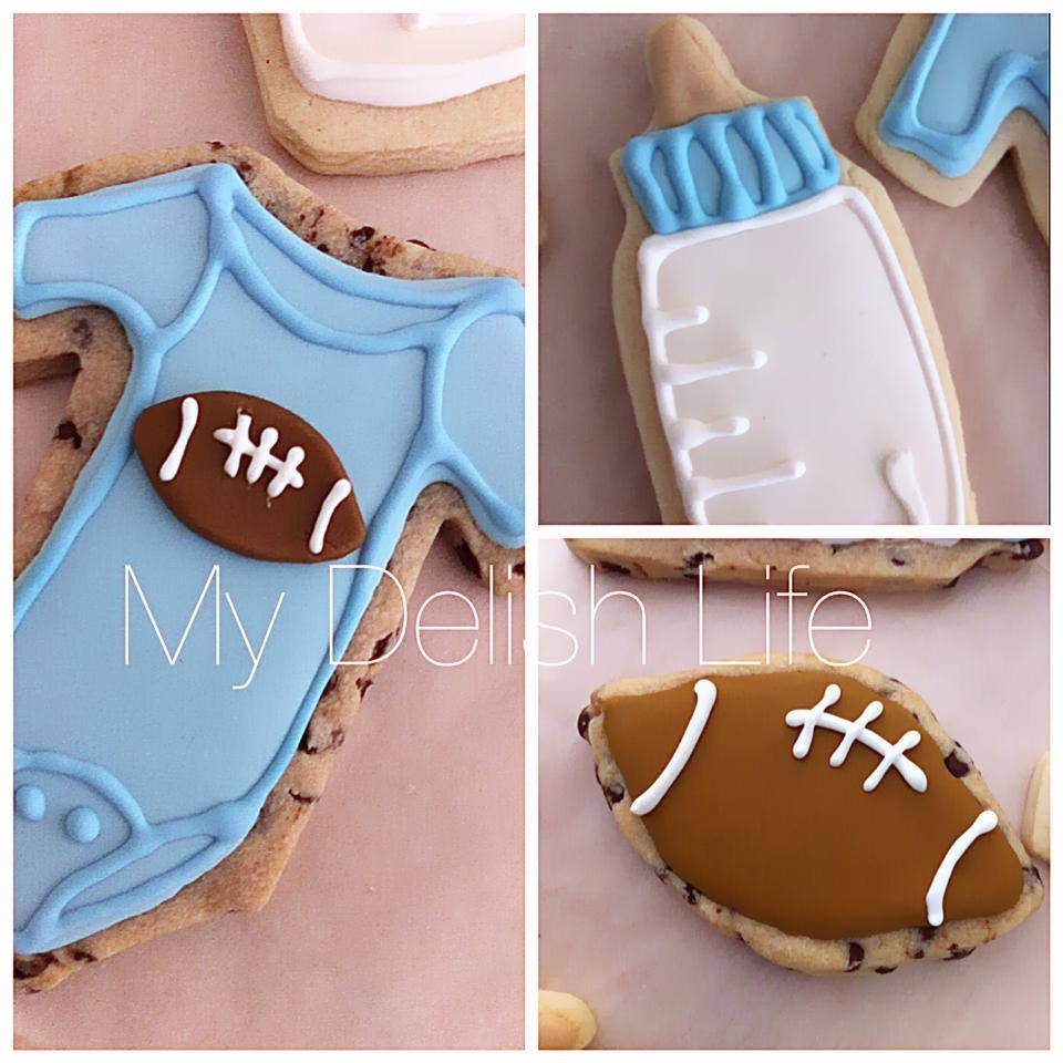 lil guy baby shower cookiesfootball themesugar cookies chocolate