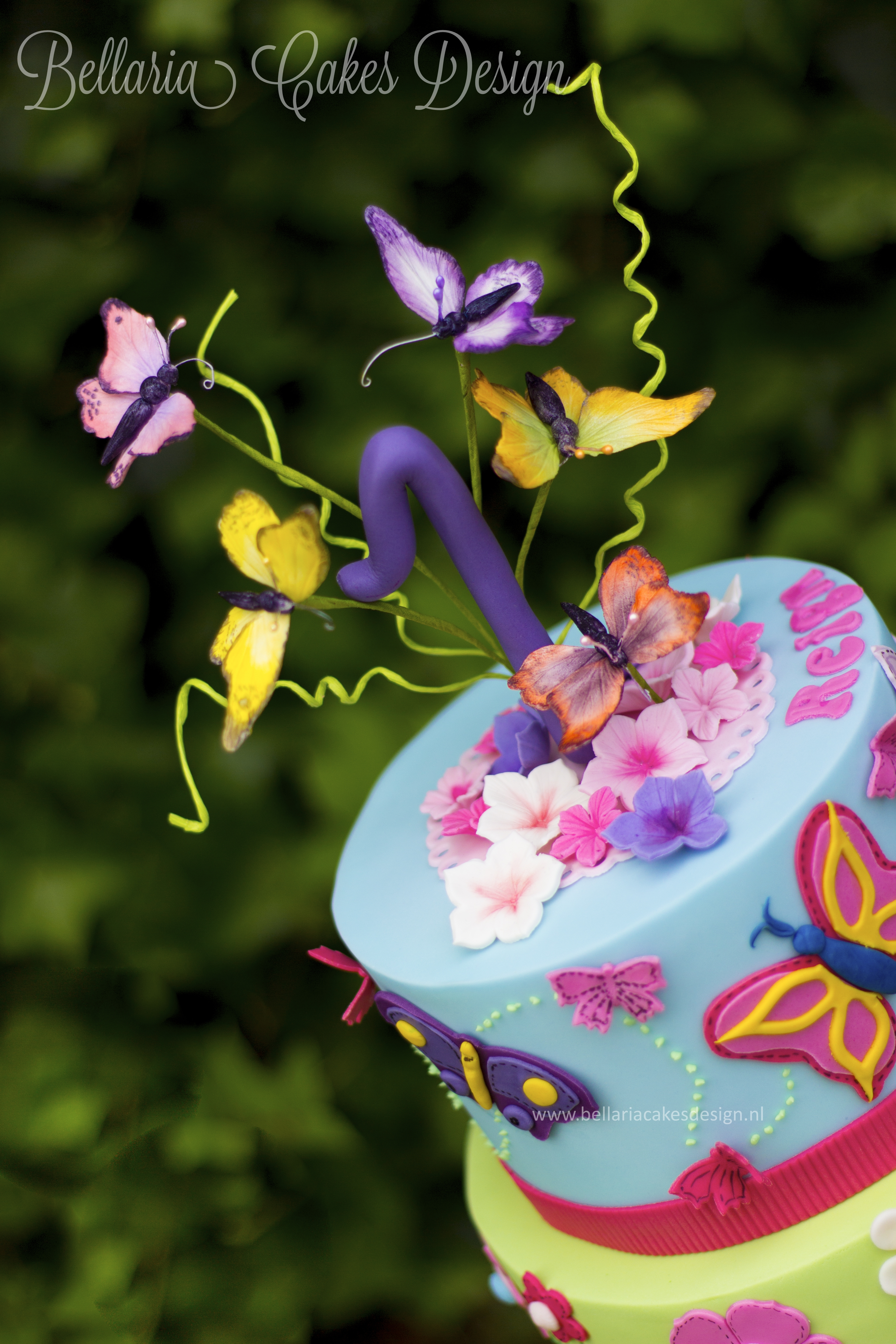 butterflies garden themed cake for the very first birthday of a little girl ive used bright colors and decorated the top tier with butterflies