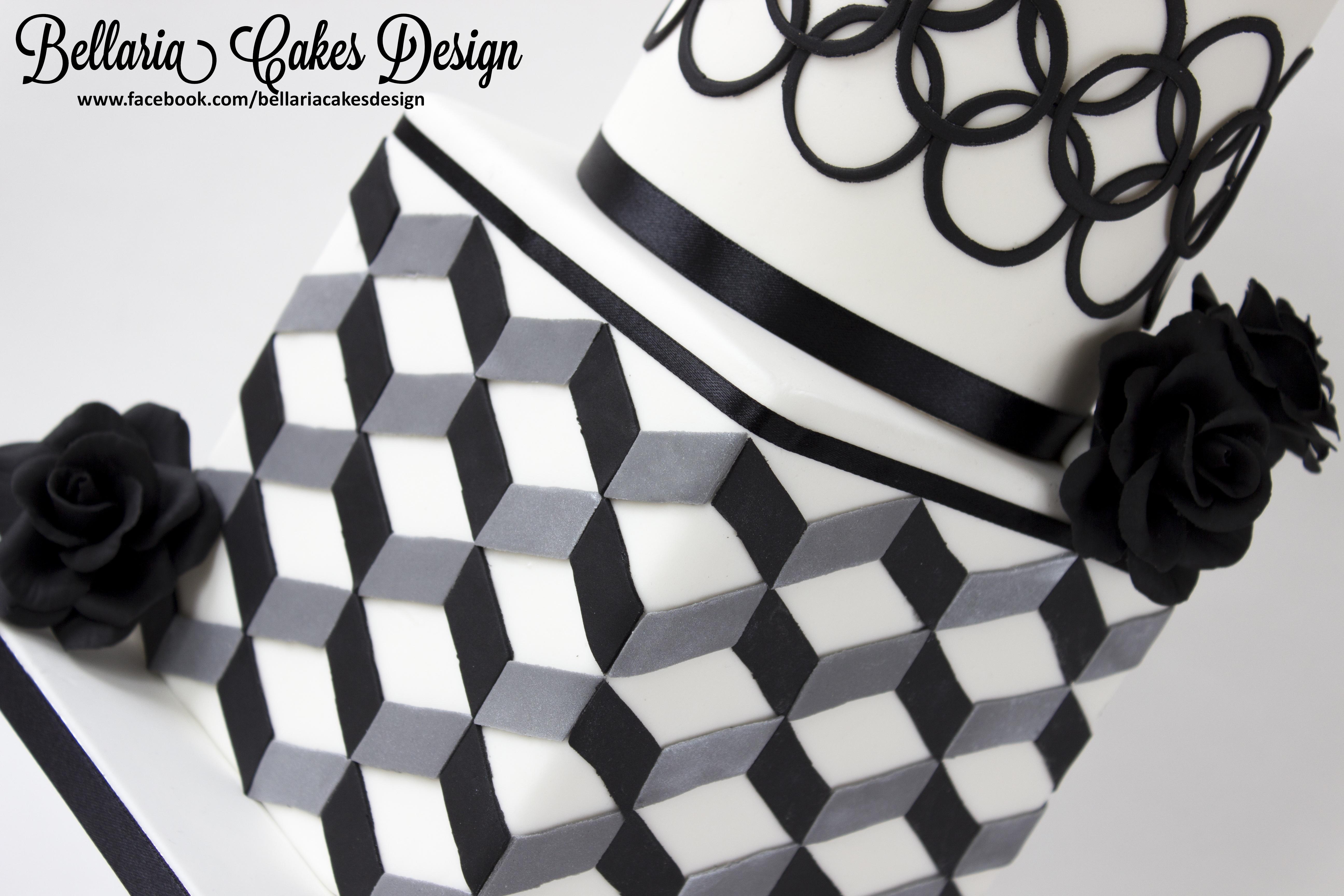 Modern black and white bridalshower cake with geometric for Modern patterns black and white