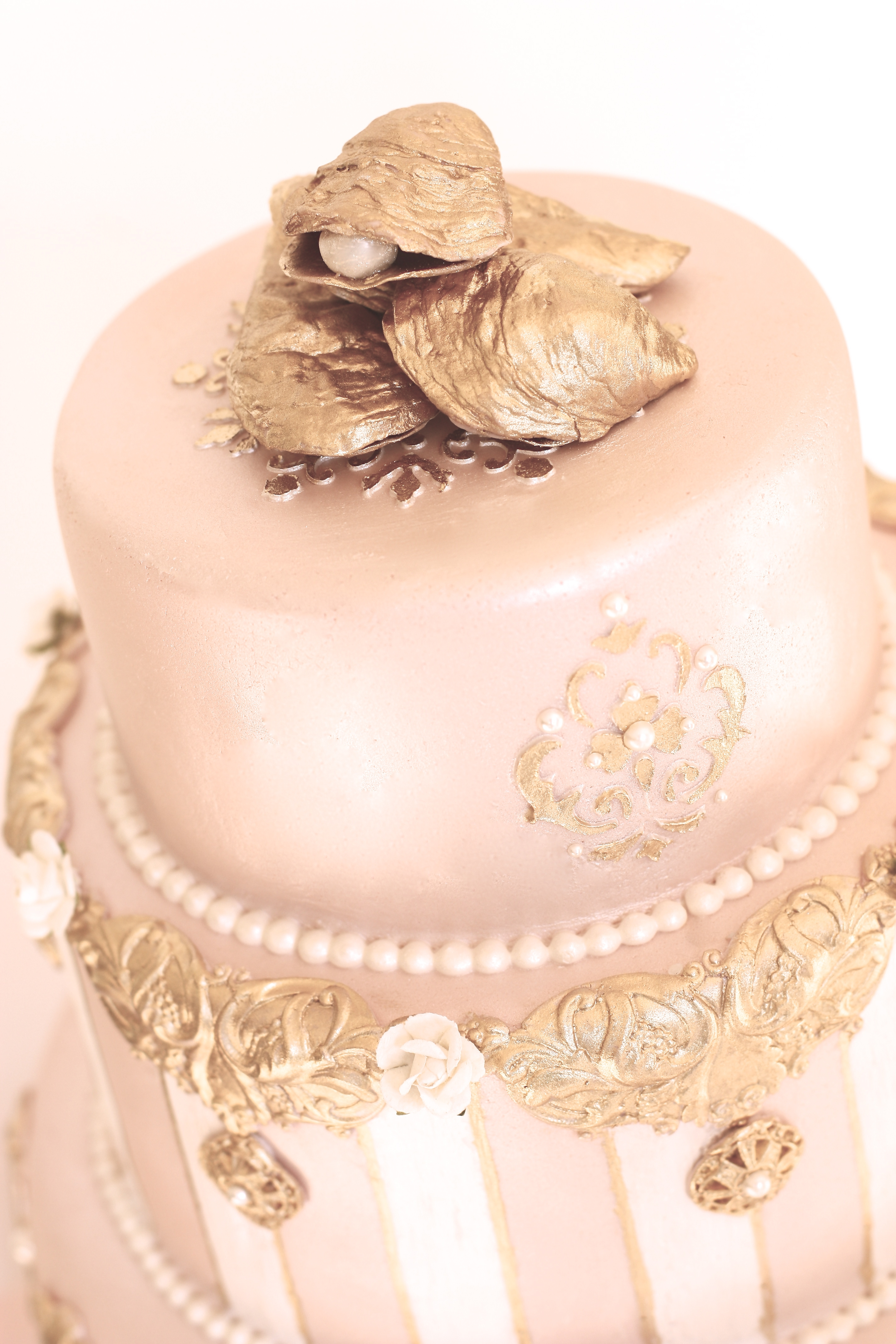 Pink Pearl & Gold Wedding Cake CakeCentral