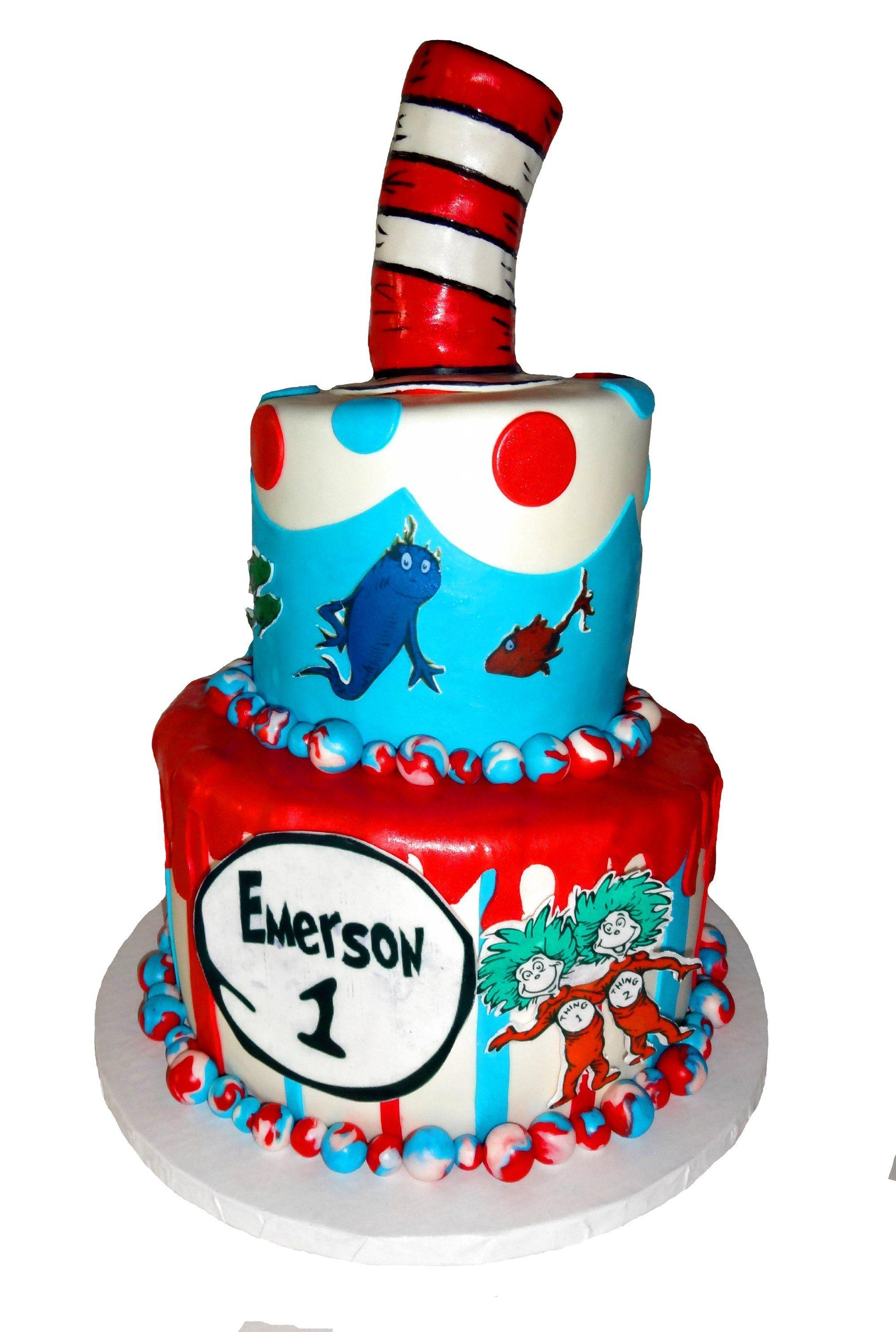 Dr Seuss 1st Birthday Cake Plus Smash Cake Cakecentral