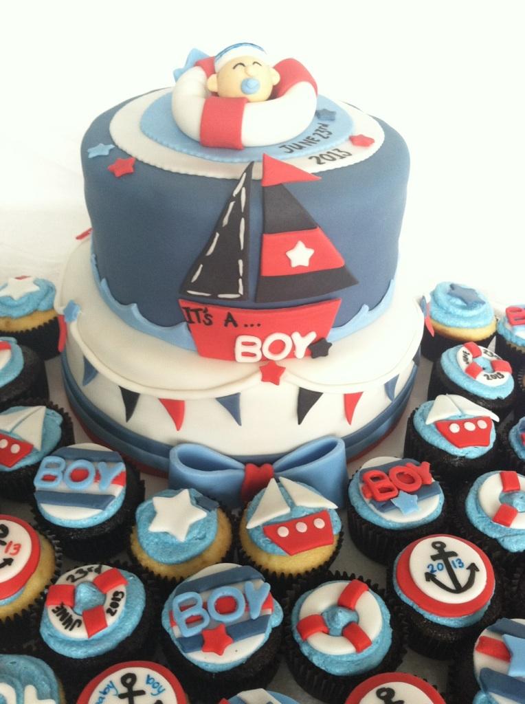 Baby Shower Ideas Cupcake Themed : Sailor Themed Baby Shower Cake And Cupcakes - CakeCentral.com