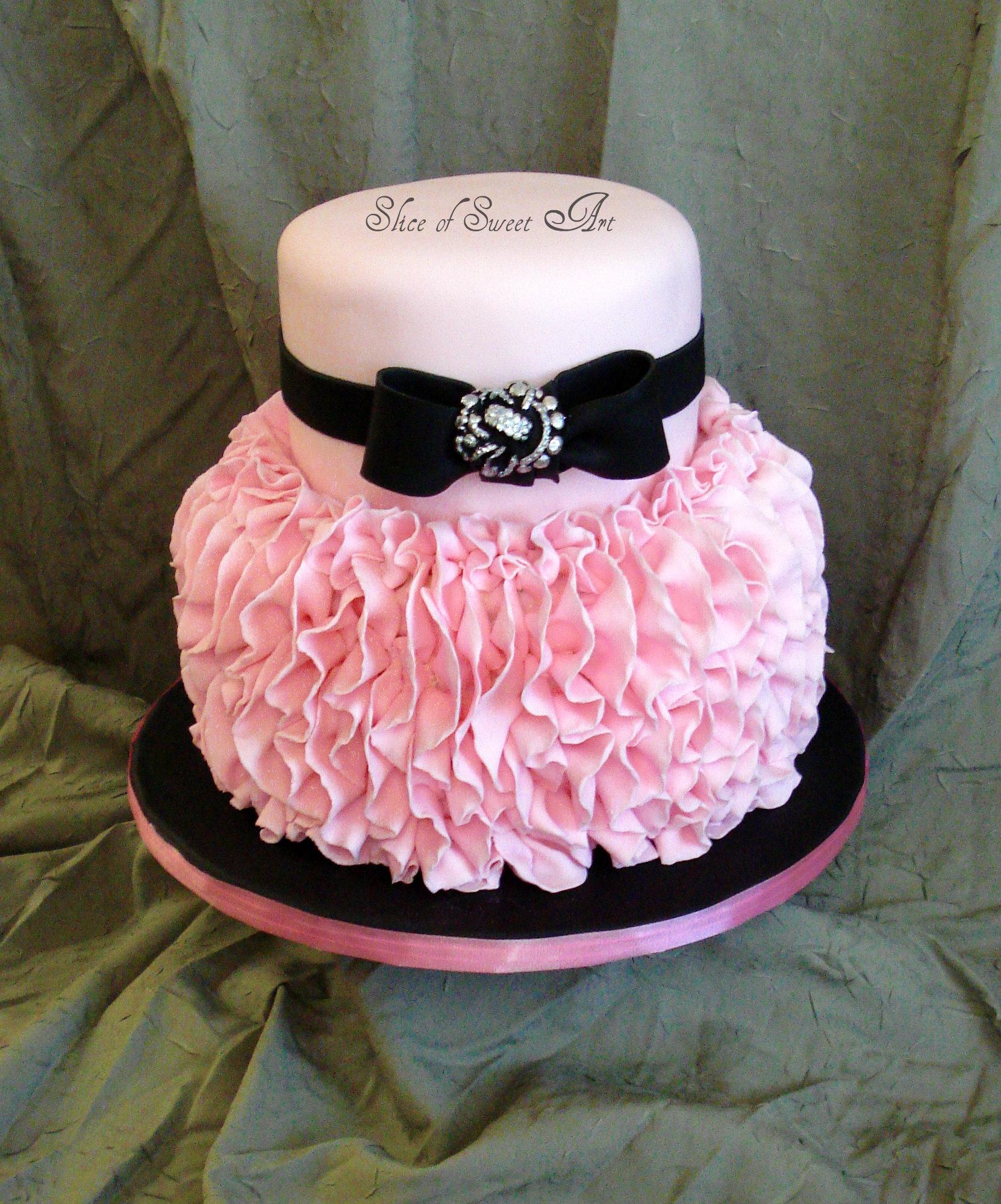 Pink Black And White Cake