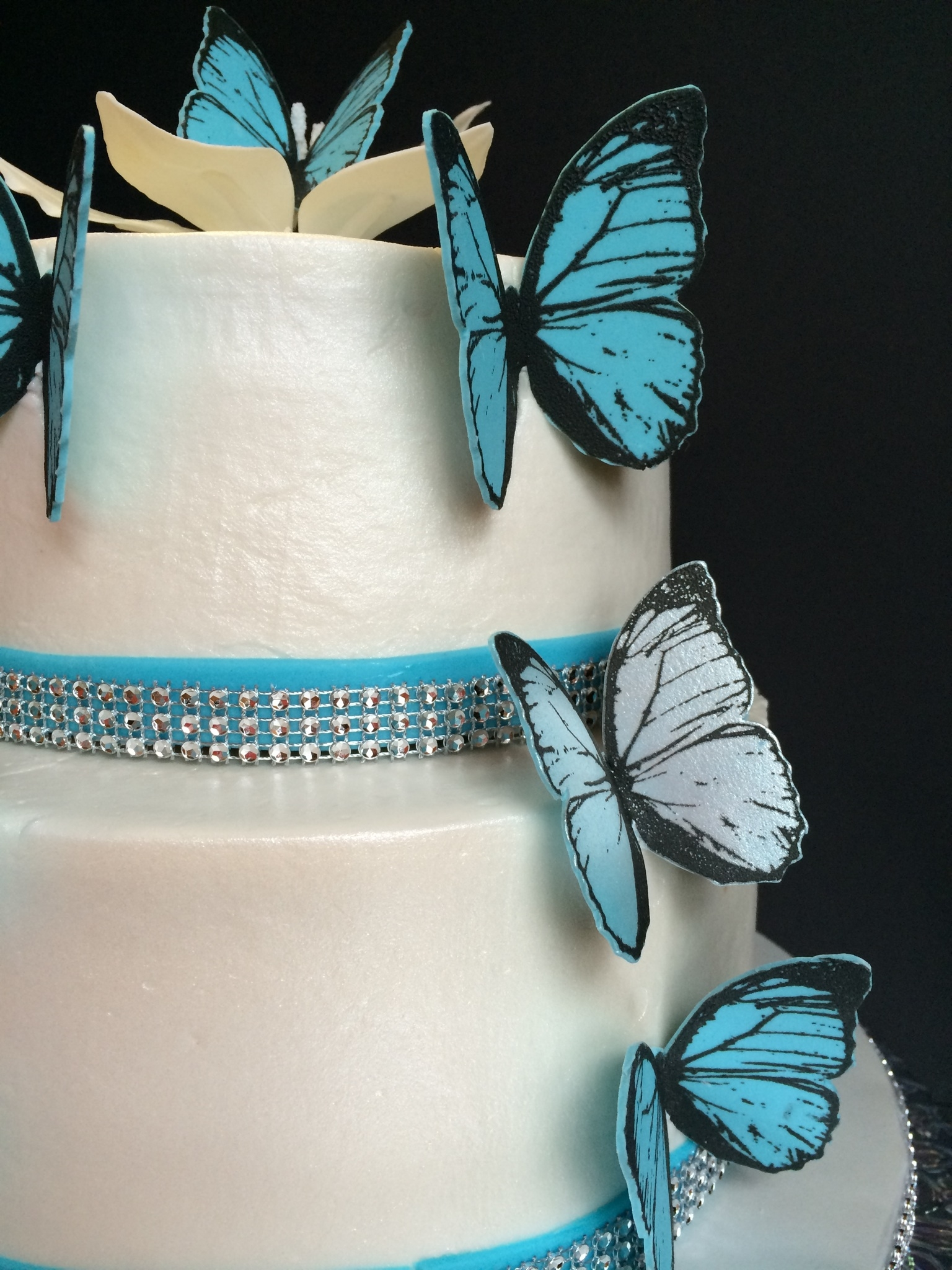 Blue Butterfly Wedding Cake With Handmade Edible