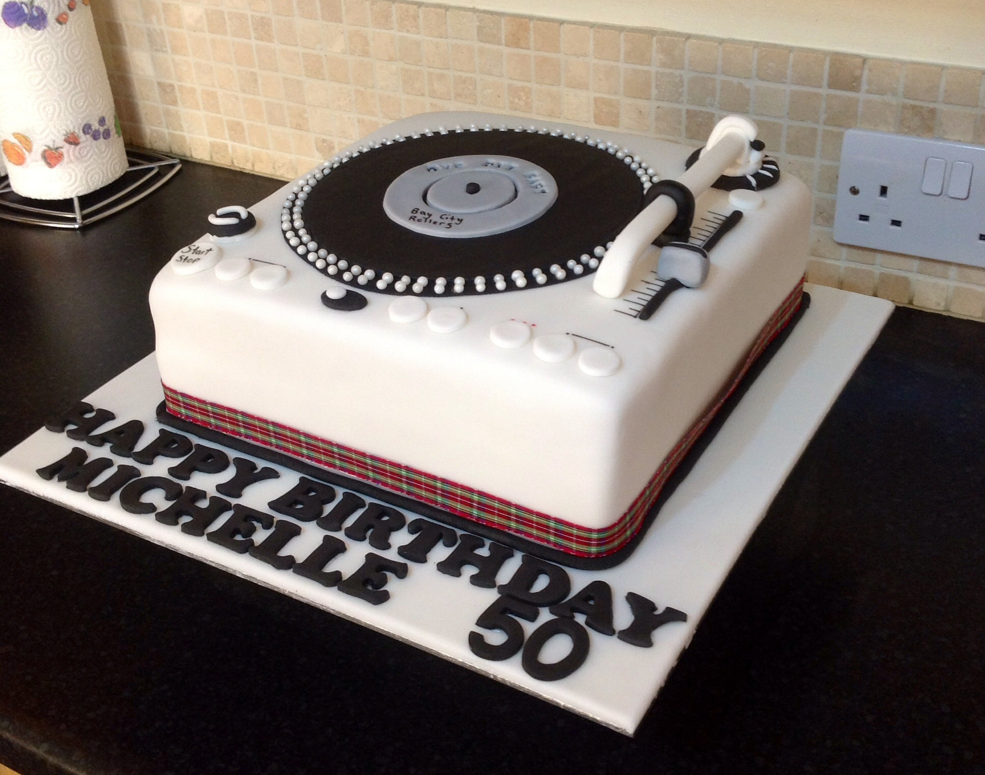 50th Record Player Cake Bay City Rollers Theme