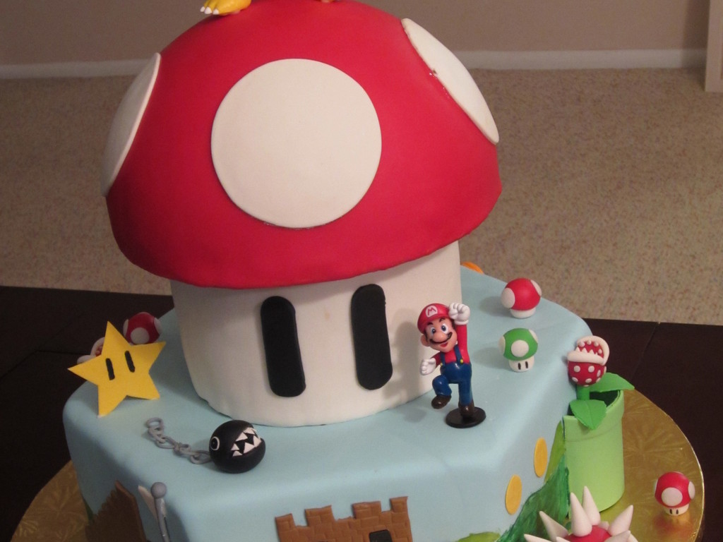 Super Mario Bros Cake Made For A 5 Year Old Boys Birthday Triple Chocolate Fudge And Vanilla Pound Layered Filled With Butt