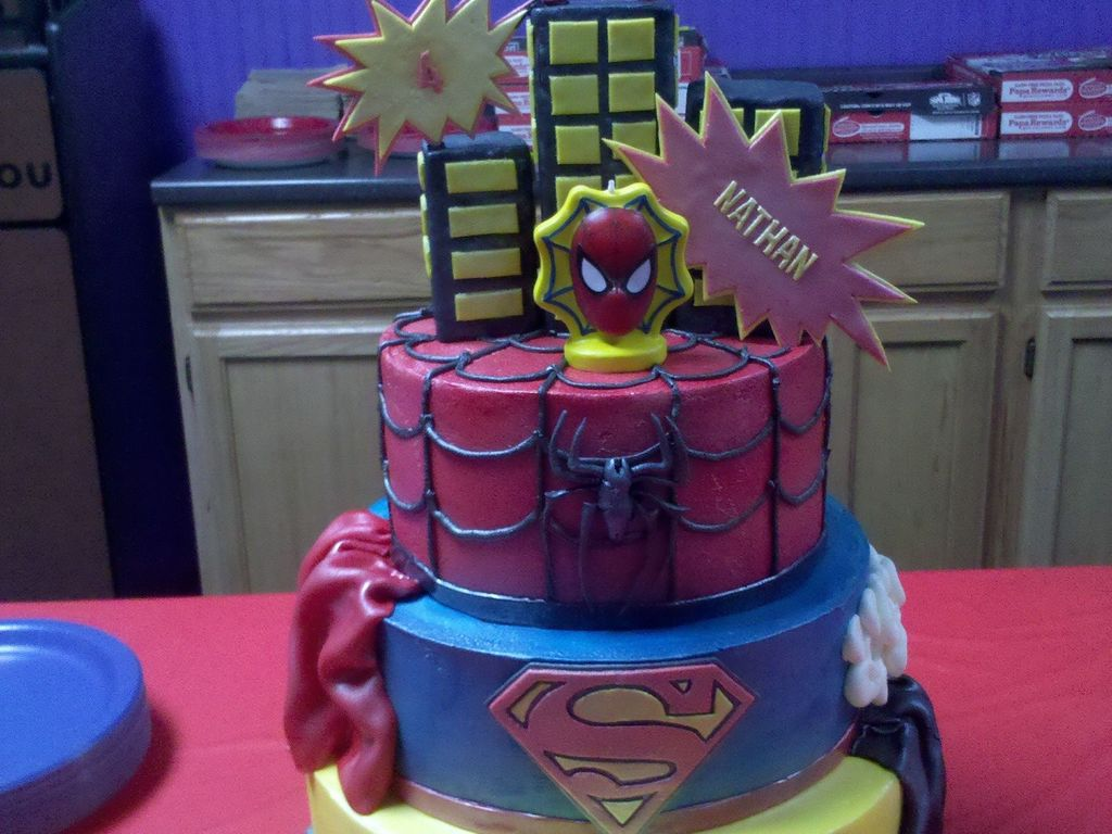 4 Year Old Superheroes Birthday Cake My Take On The Cakes Here Cc Top And Bottom Tier Are Chocolate With Oreo Fillin