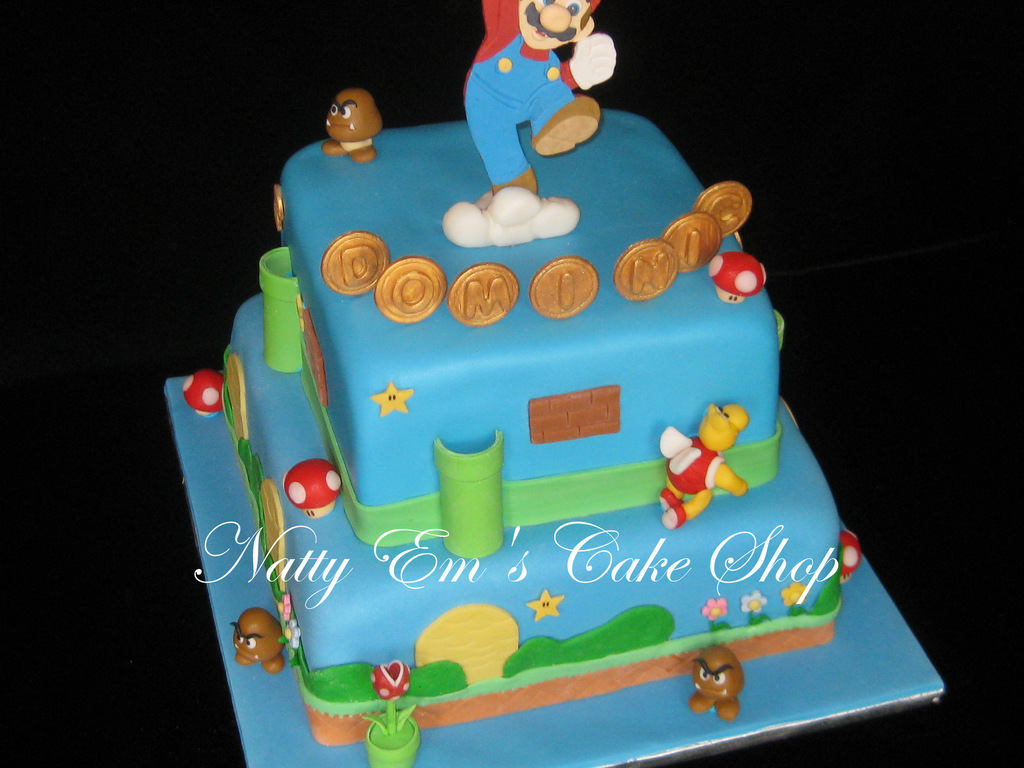 Birthday Cake For 6 Year Old Boy Mario Is Gumpaste And Other Figures Are Combination Gum Paste Fondant