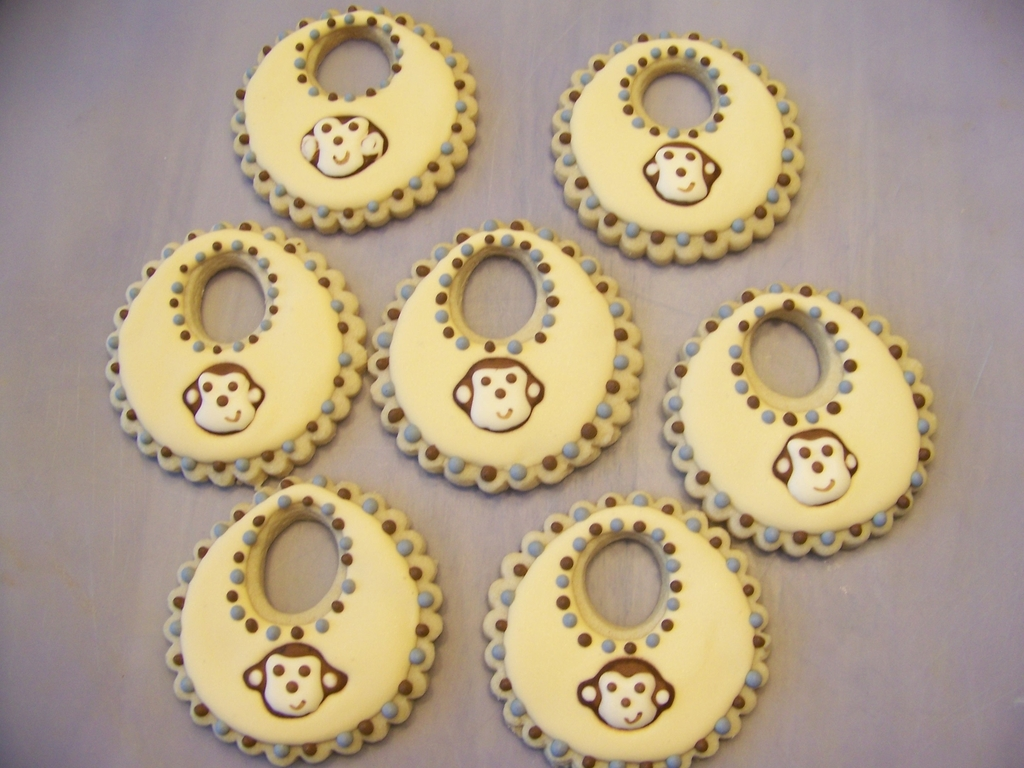 Decorate Baby Bibs Monkey Face Bib Baby Shower Cookies Cakecentralcom