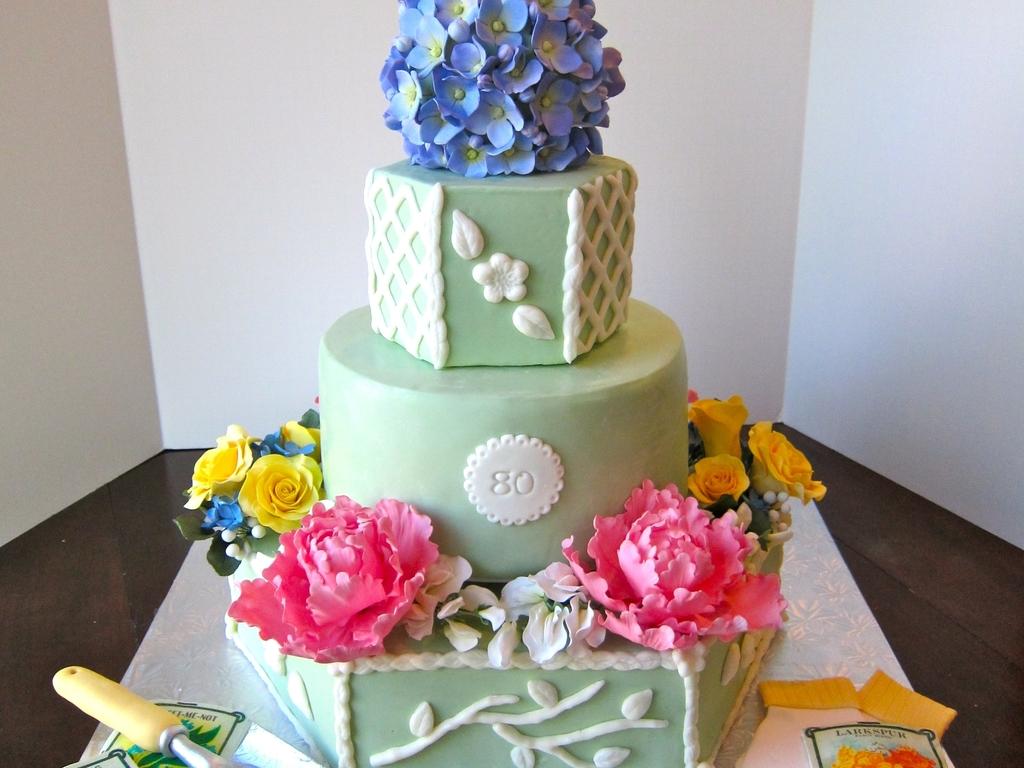 Gardening Themed 80Th Birthday Cake - CakeCentral.com