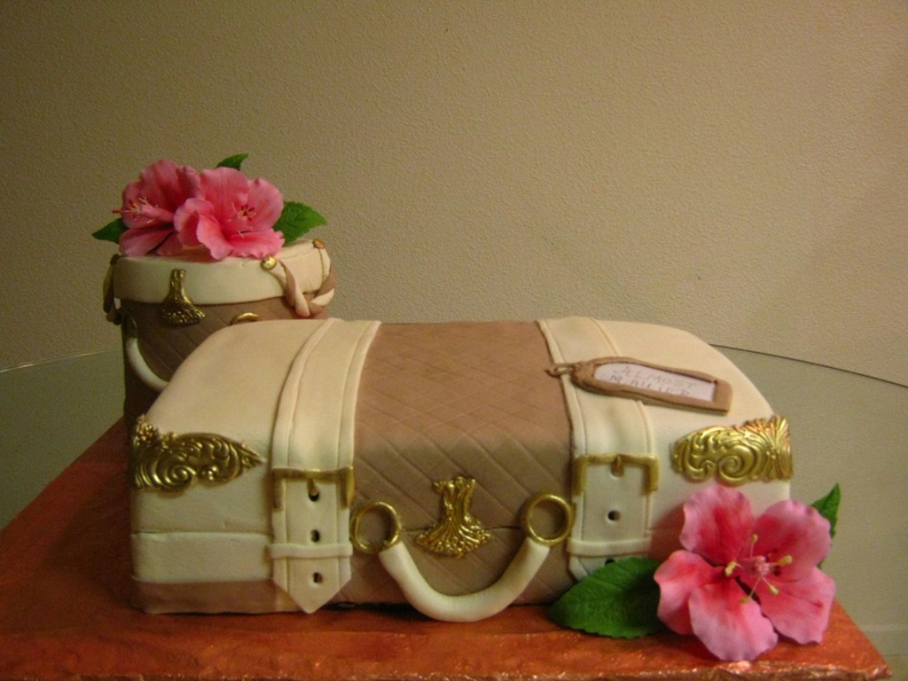 A Luggage Cake And Hatbox For A Bridal Shower The Couple Are Going
