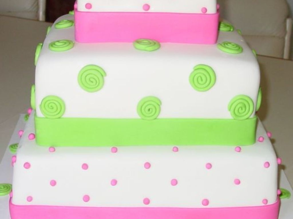 Pink And Green Square Wedding Cake. 3 Tiers. - CakeCentral.com