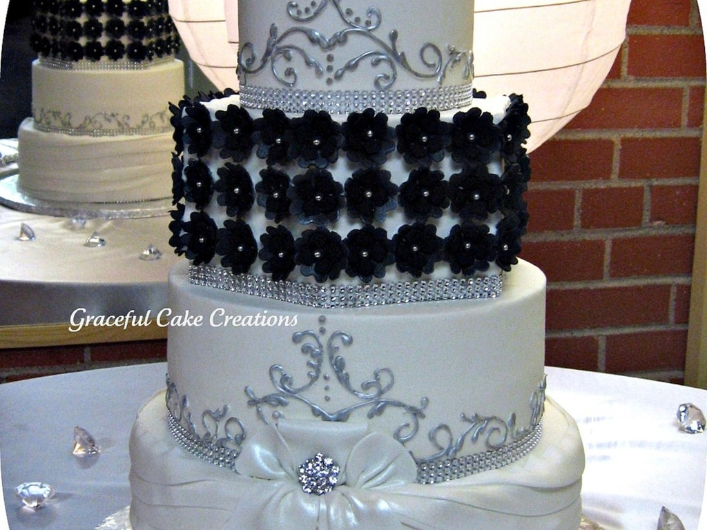 Elegant Black, White And Silver Wedding Cake - CakeCentral.com