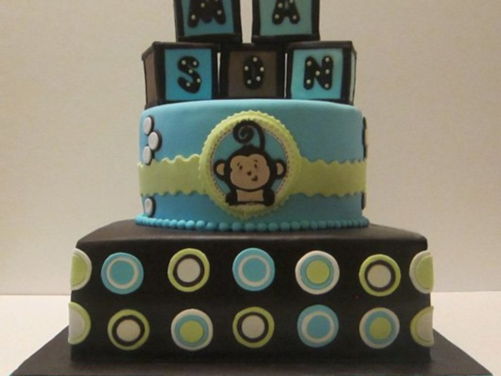 monkey themed baby shower cake cakecentral com